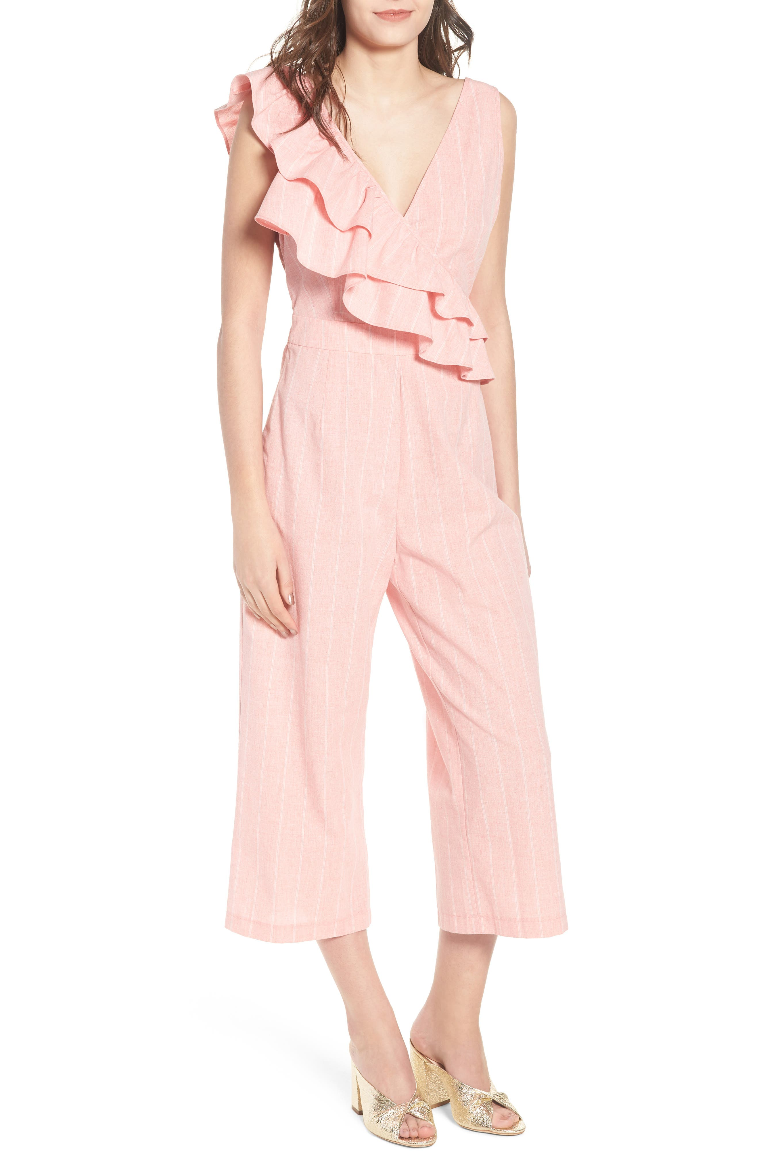 Frill Shoulder Stripe Jumpsuit,                             Main thumbnail 1, color,                             Pink