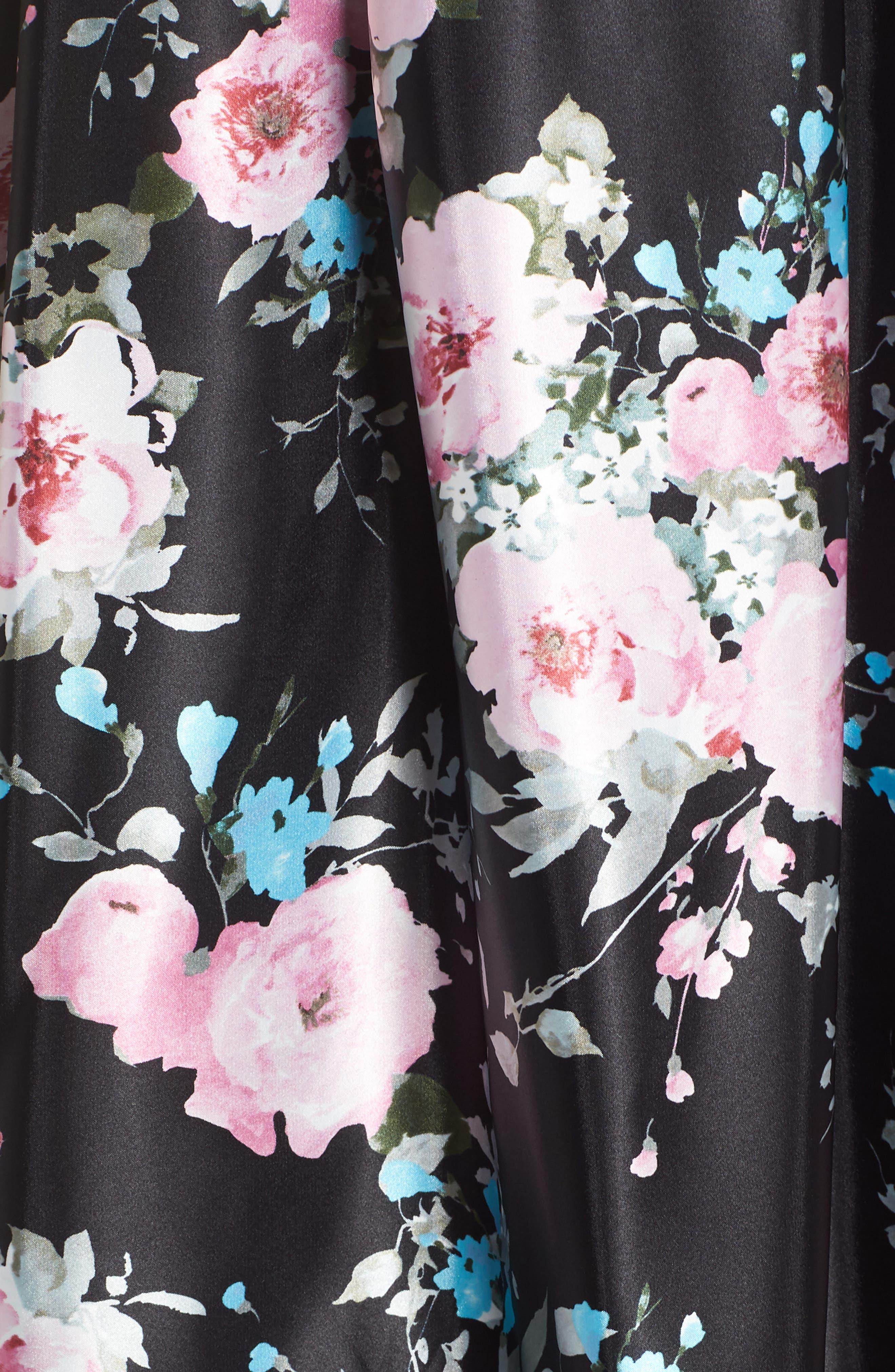 Two-Piece Ballgown,                             Alternate thumbnail 5, color,                             Black/ Floral