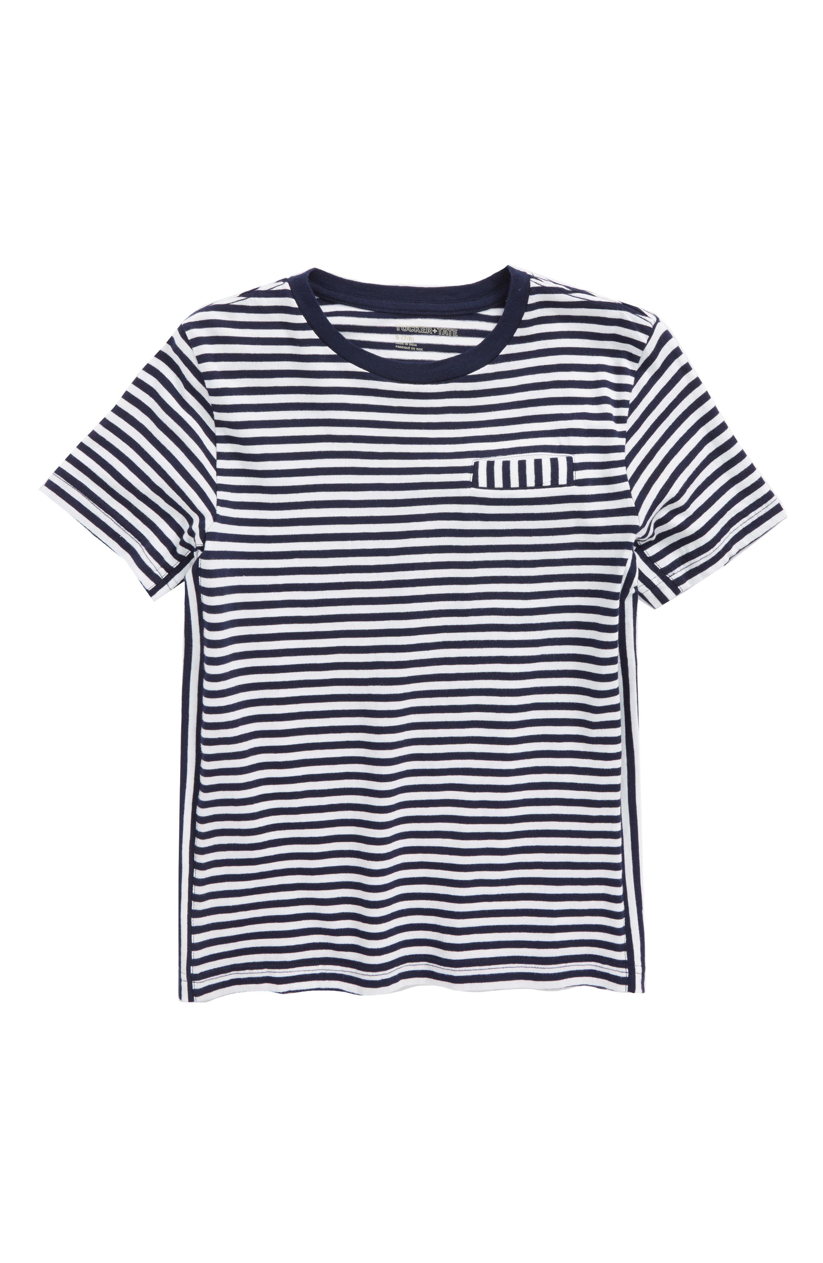Stripe Pocket T-Shirt,                             Main thumbnail 1, color,                             Navy Denim- White Stripe