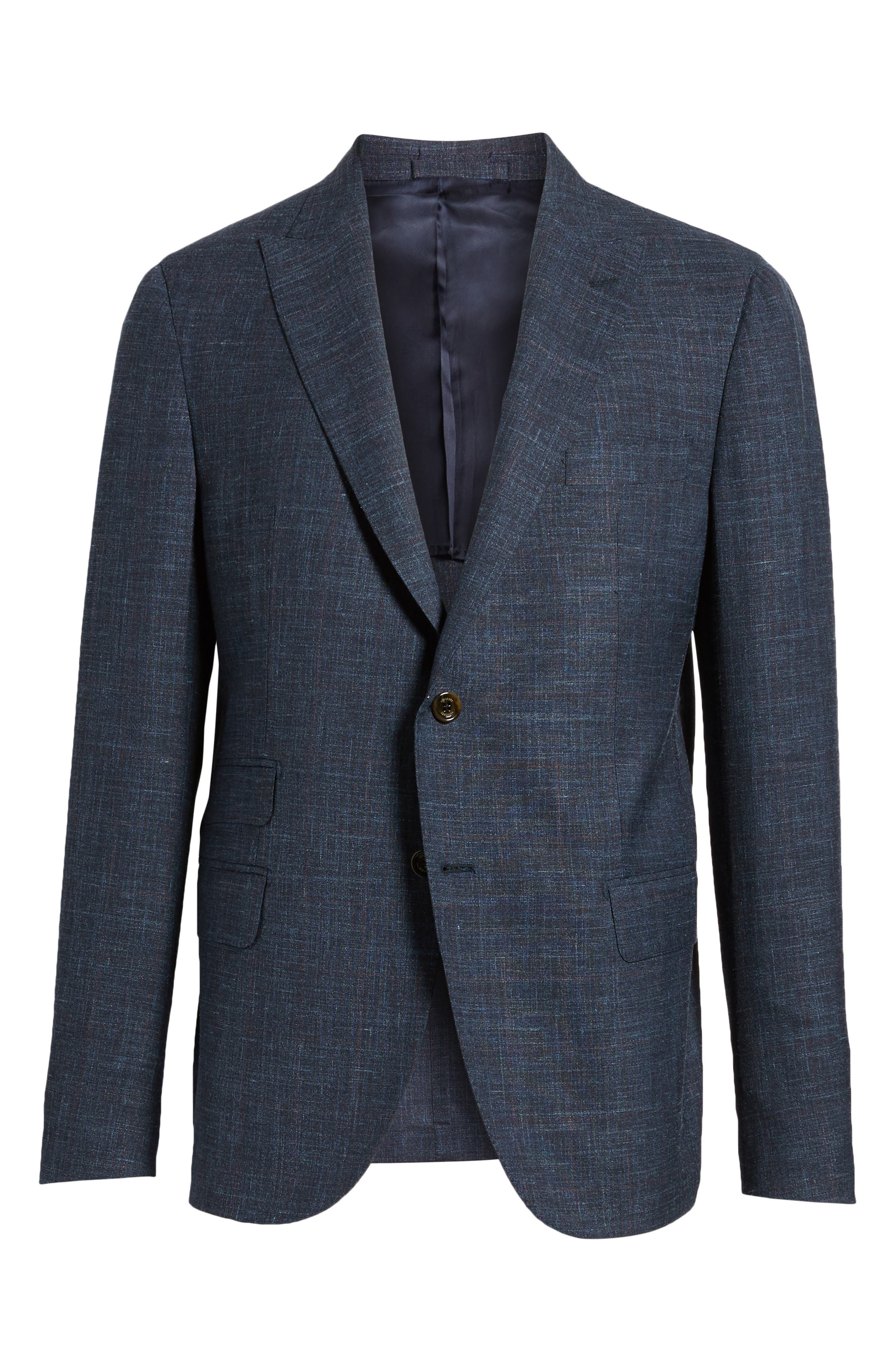Trim Fit Wool Blend Blazer,                             Alternate thumbnail 6, color,                             Denim Blue