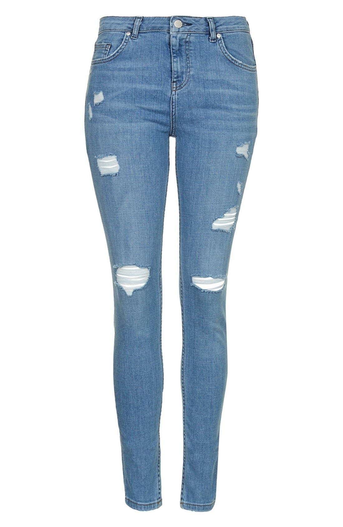 Alternate Image 3  - Topshop Moto High Rise Ripped Jeans (Light Denim) (Short)