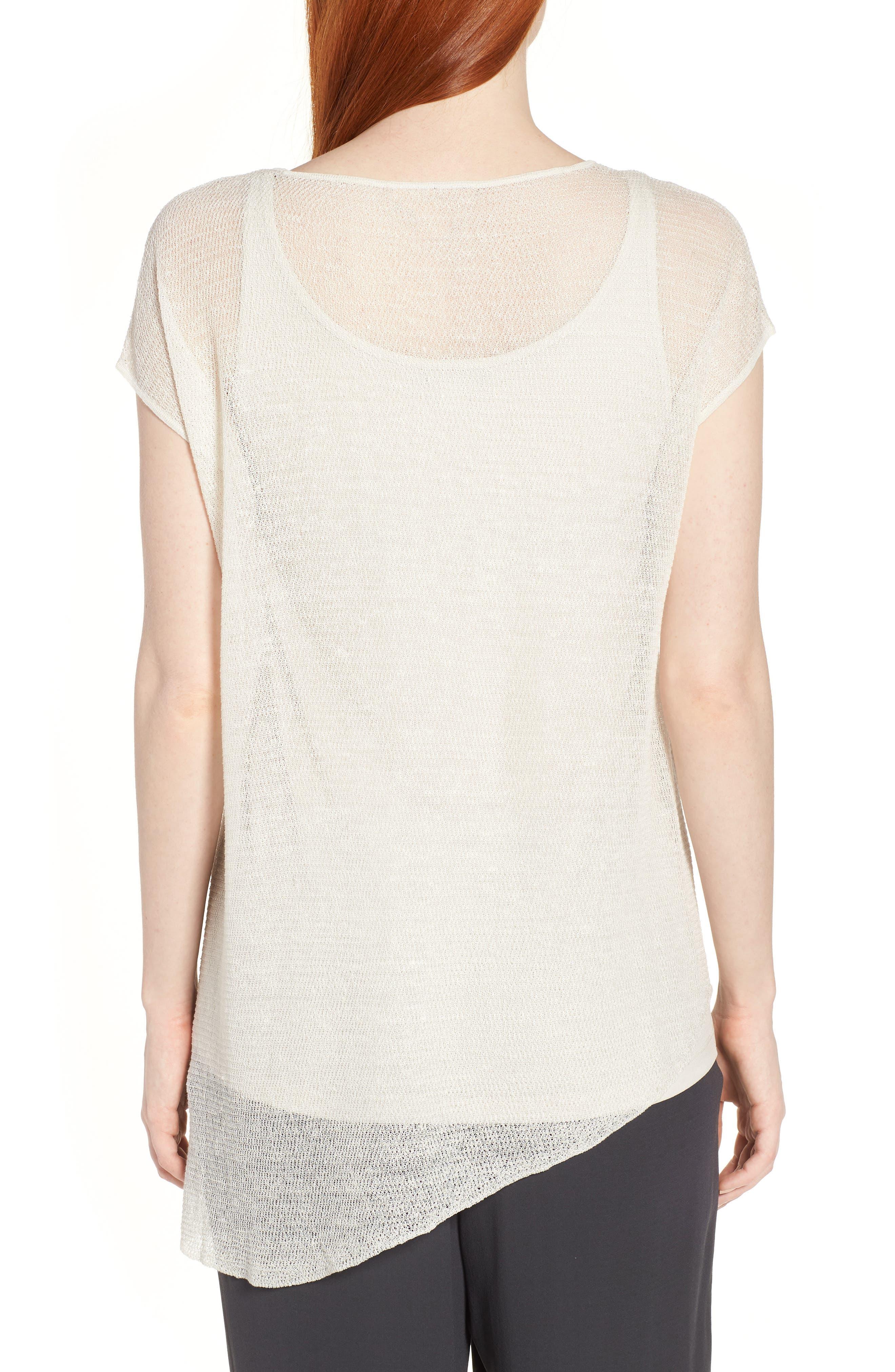 Sheer Asymmetrical Cap Sleeve Sweater,                             Alternate thumbnail 2, color,                             Bone