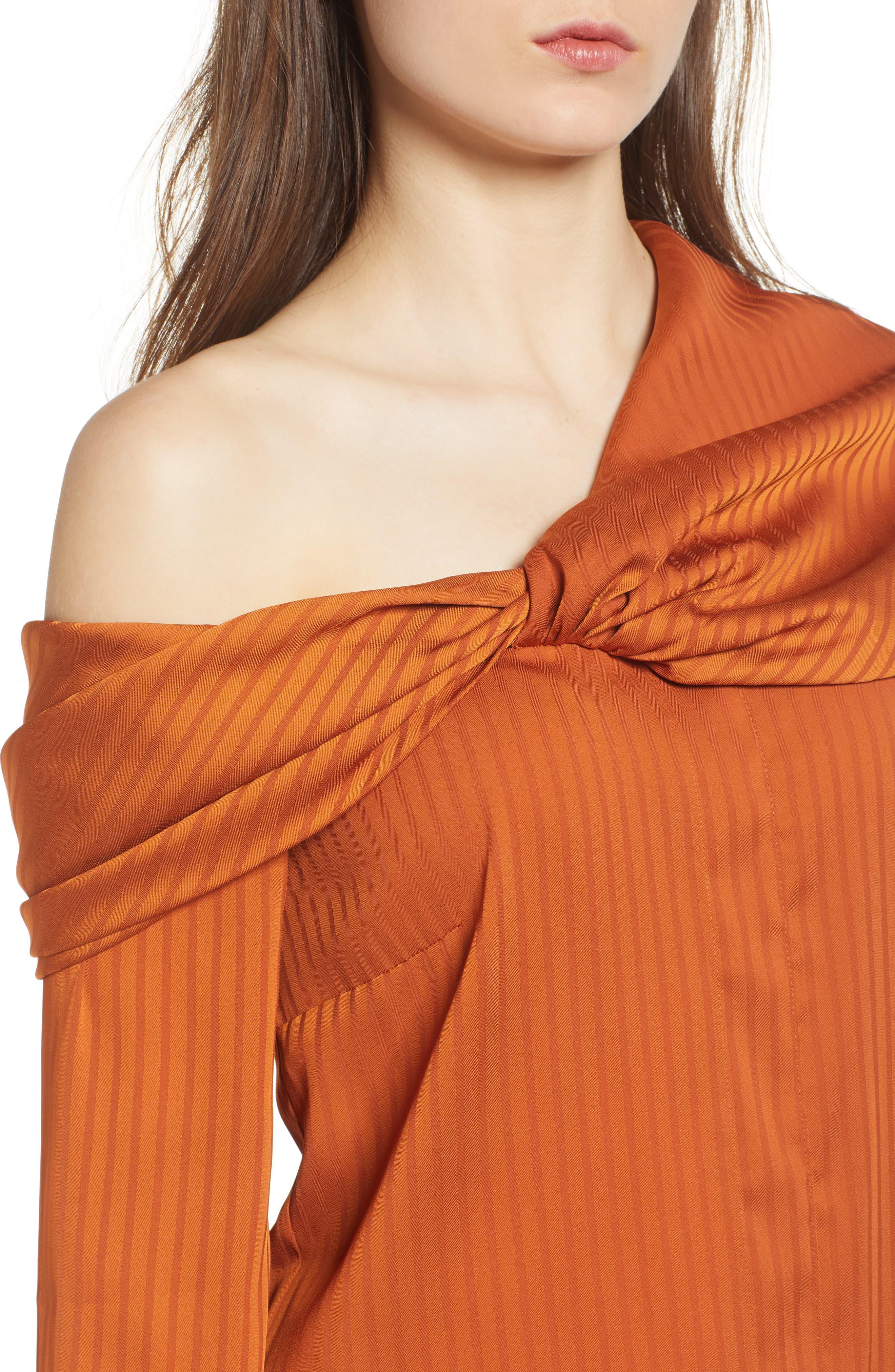 Draped One-Shoulder Top,                             Alternate thumbnail 4, color,                             Rust Cider