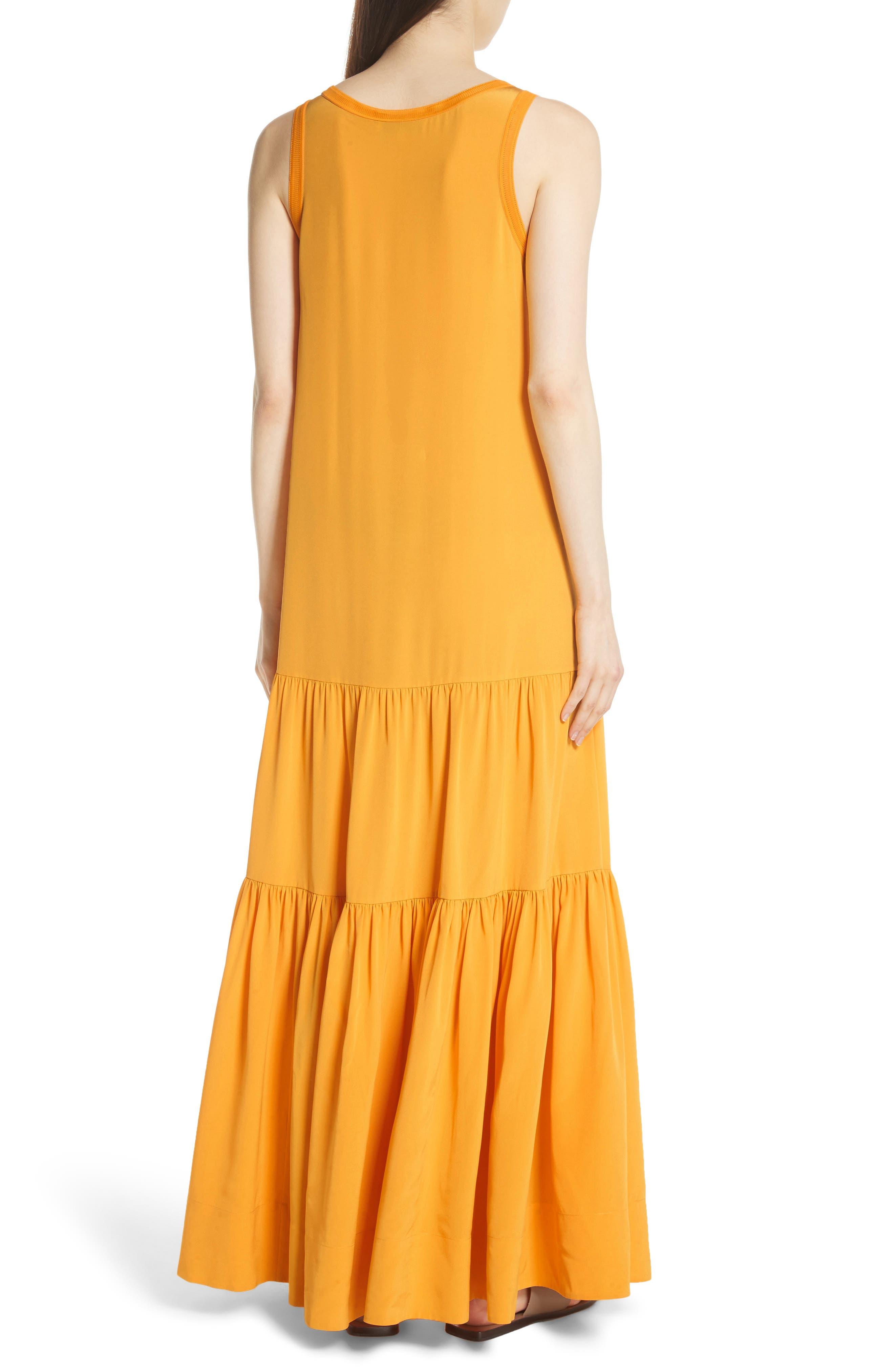 Hazel Silk Tank Dress,                             Alternate thumbnail 4, color,                             Saffron