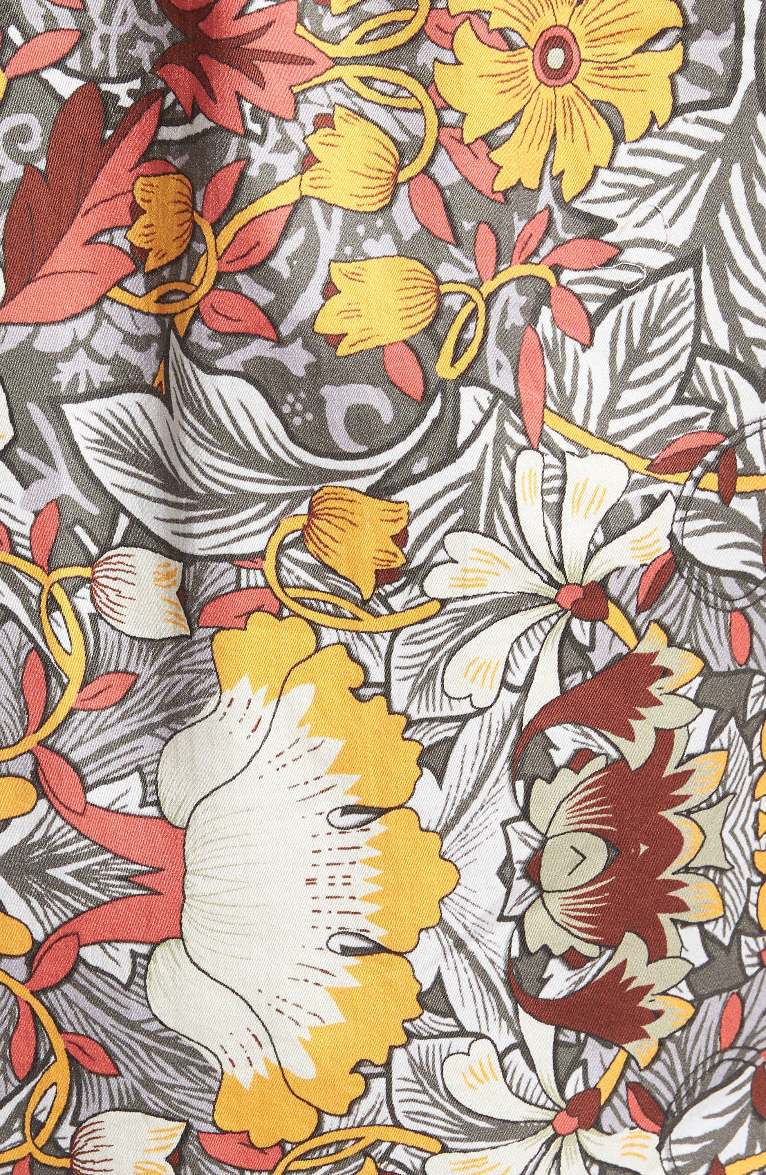 Trim Fit Woven Short Sleeve Shirt,                             Alternate thumbnail 5, color,                             Grey
