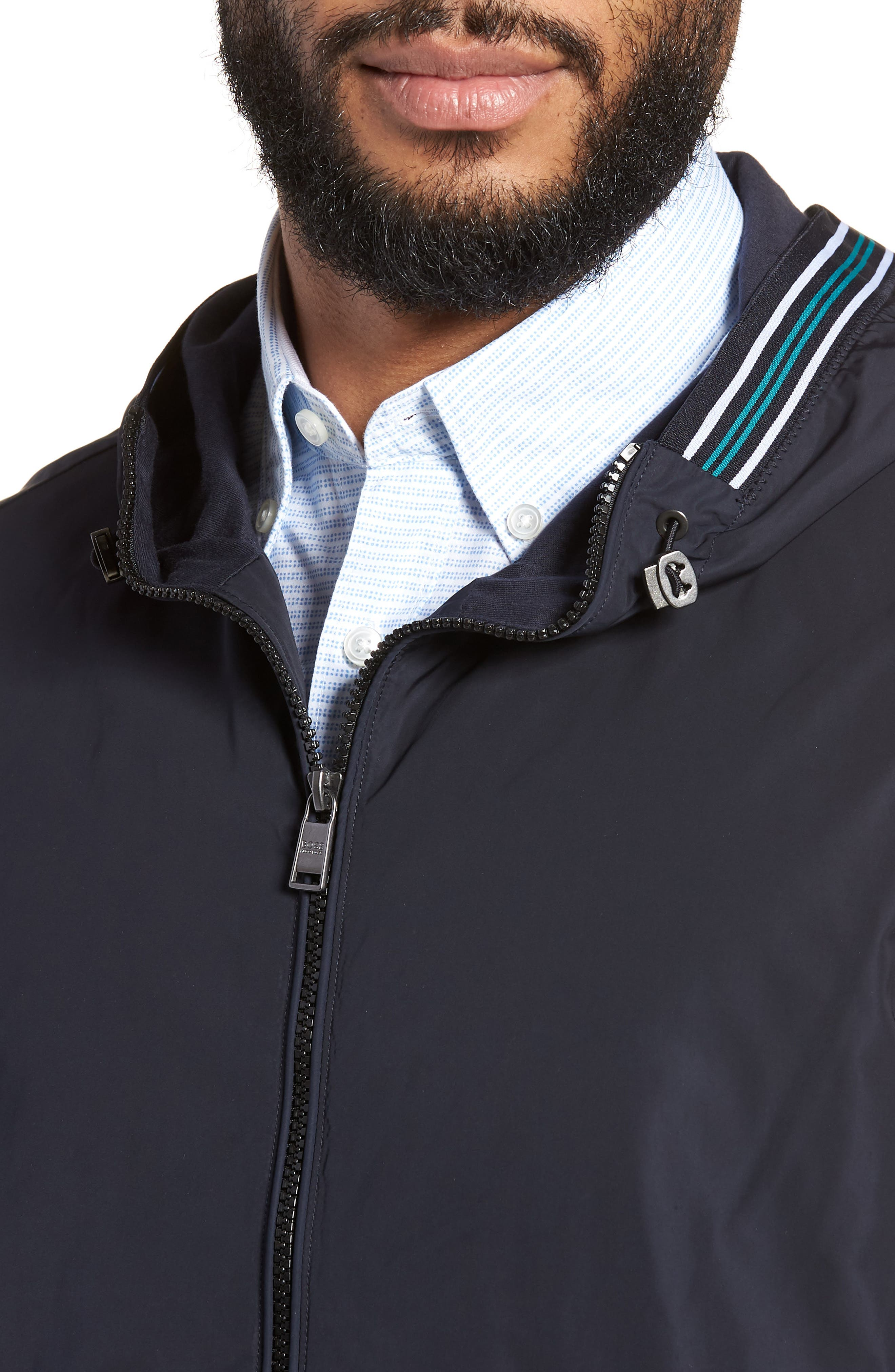 Sibly Slim Fit Jersey Hooded Jacket,                             Alternate thumbnail 4, color,                             Blue