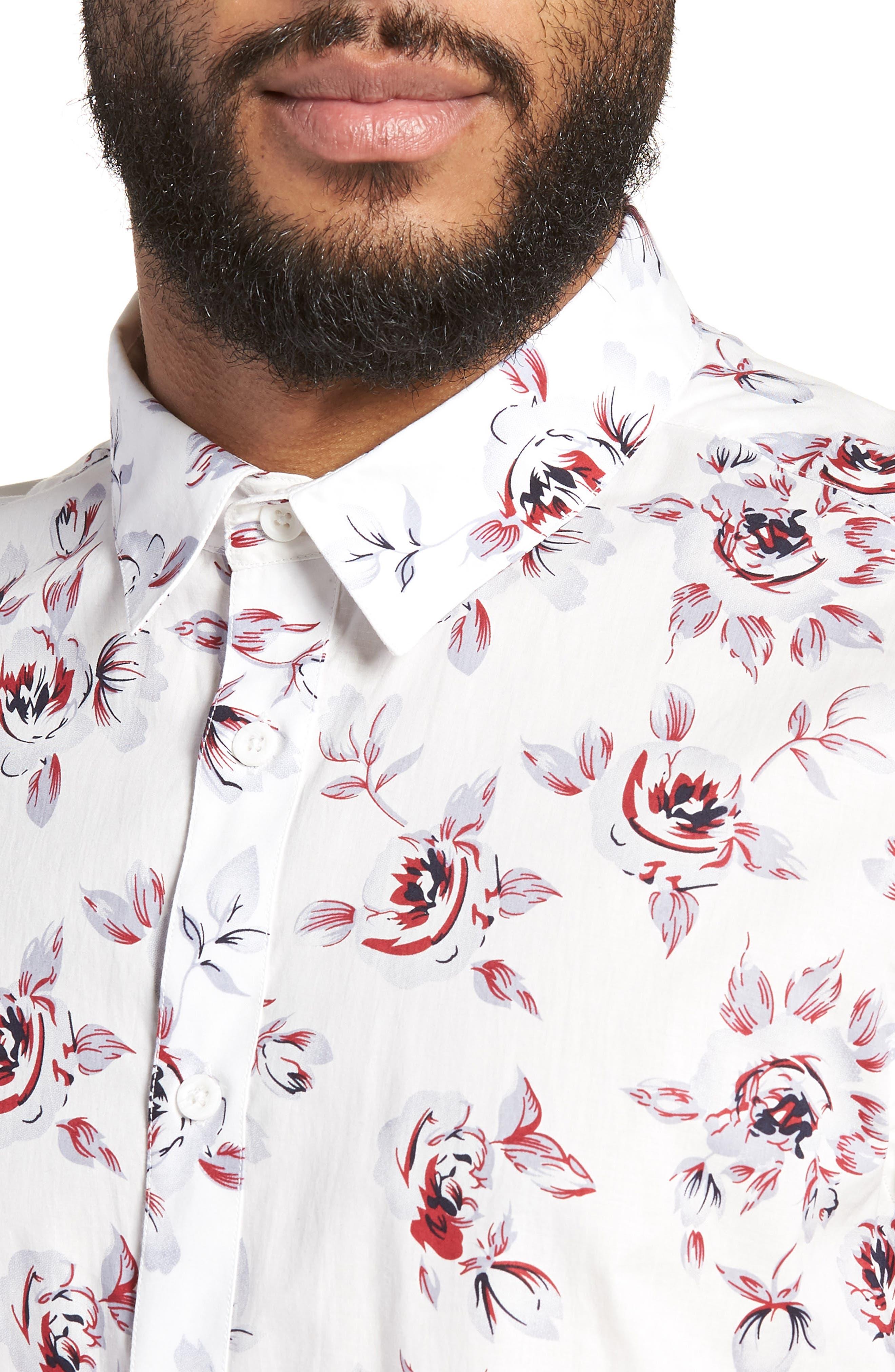 Trim Fit Print Woven Short Sleeve Shirt,                             Alternate thumbnail 4, color,                             White Red Rose