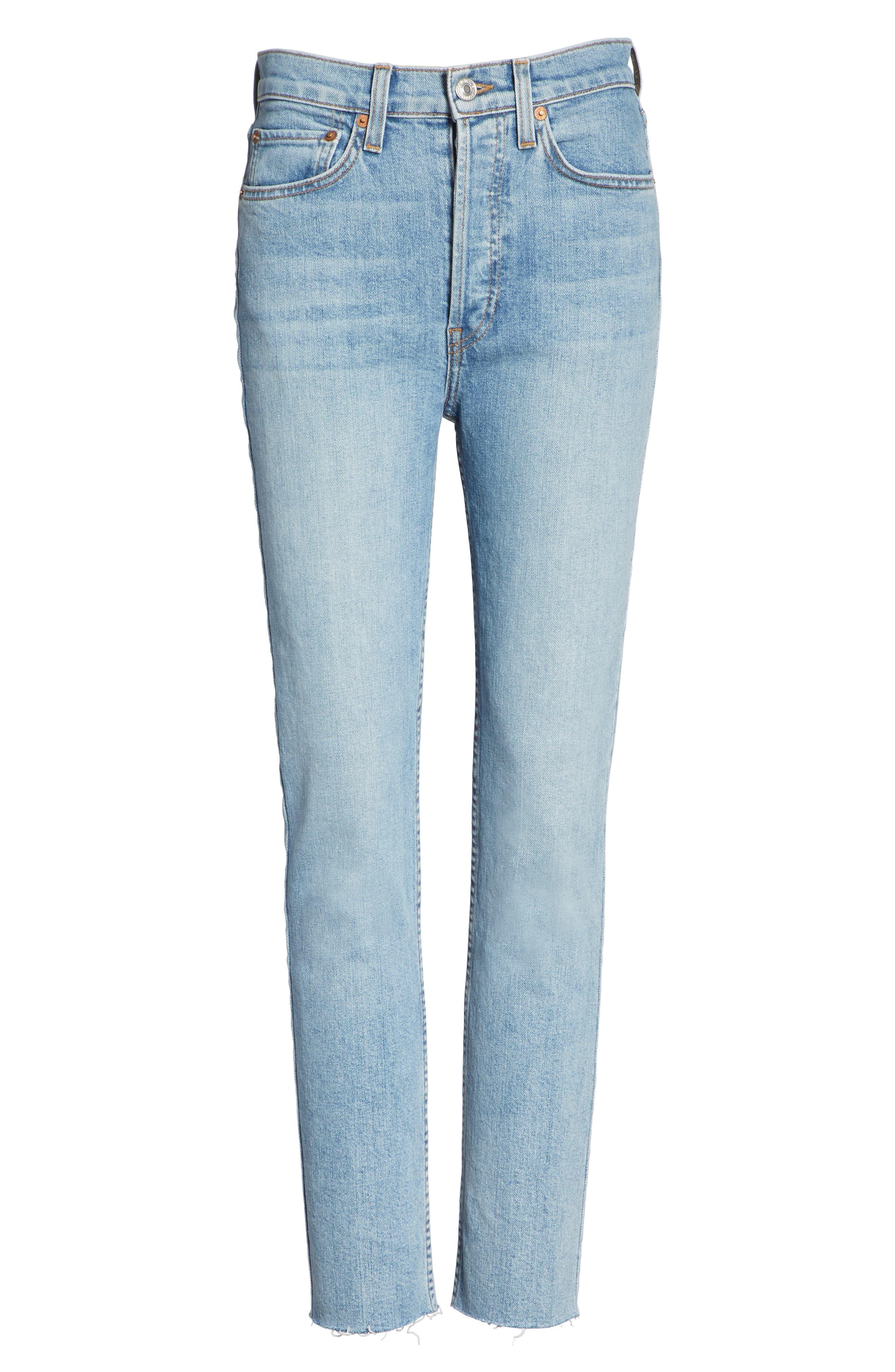 High Waist Crop Jeans,                             Alternate thumbnail 6, color,                             Dark Wash
