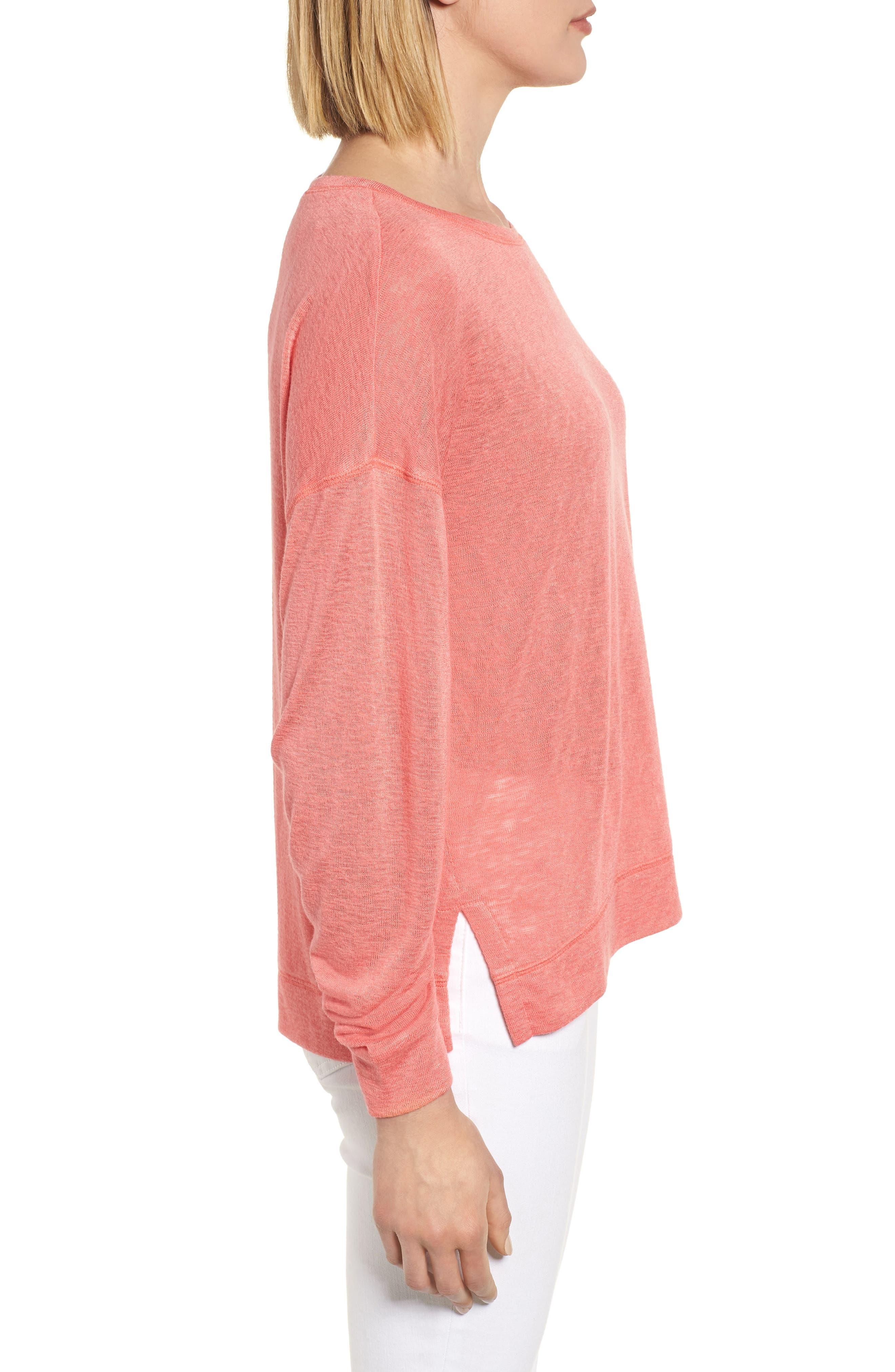 Tuck Sleeve Sweatshirt,                             Alternate thumbnail 3, color,                             Coral Rose