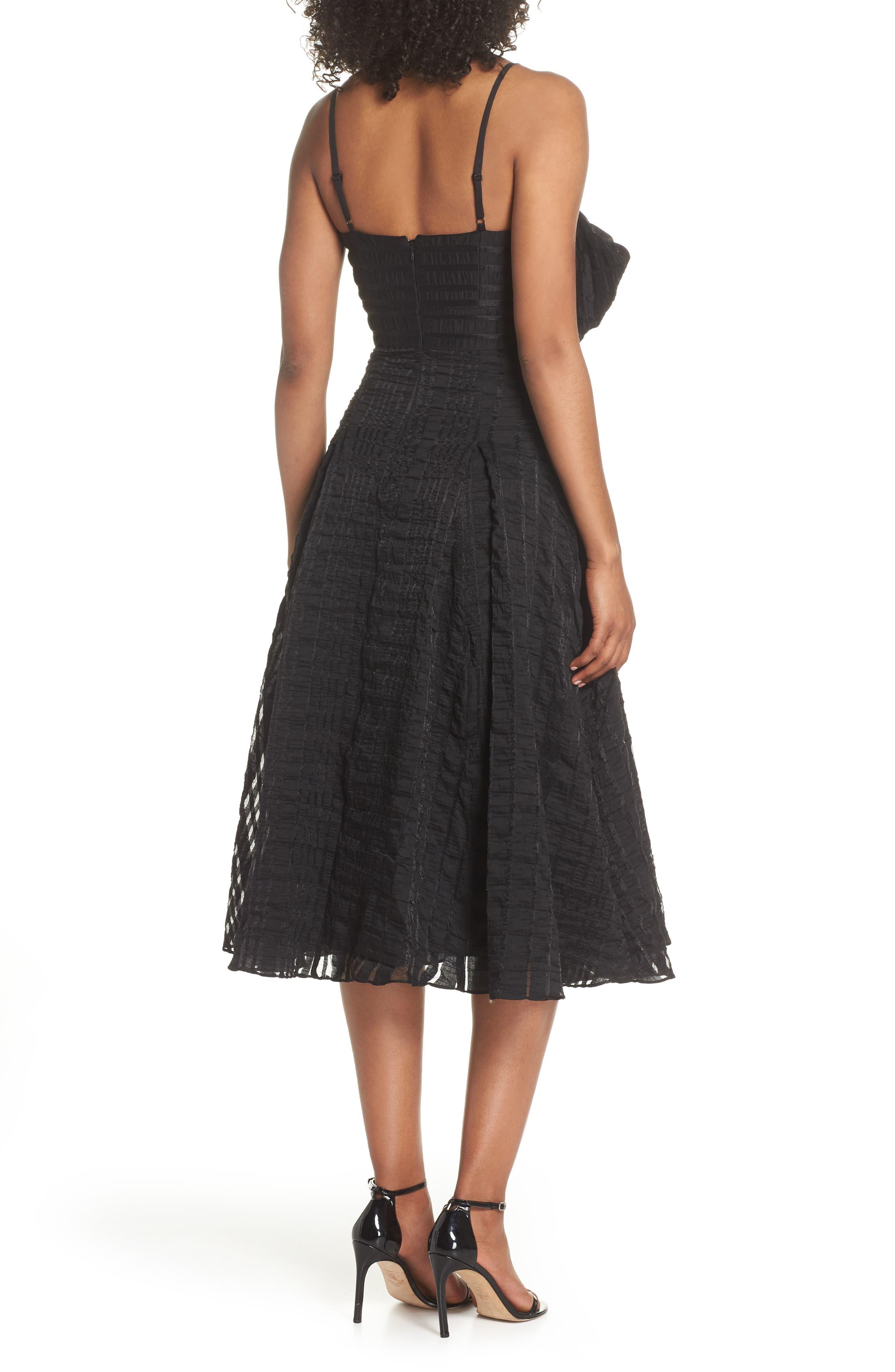 Susie Textured Tea Length Dress,                             Alternate thumbnail 2, color,                             Black