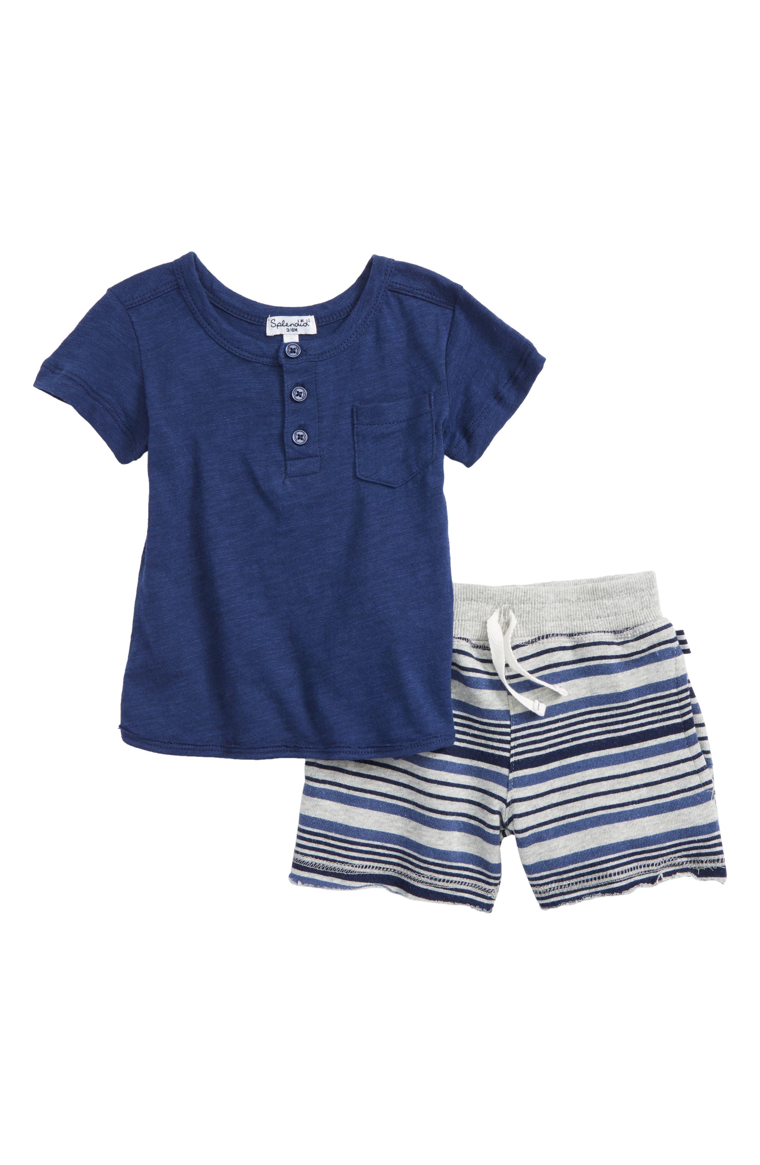 Slub Henley T-Shirt & Stripe French Terry Shorts Set,                         Main,                         color, Indigo Sky