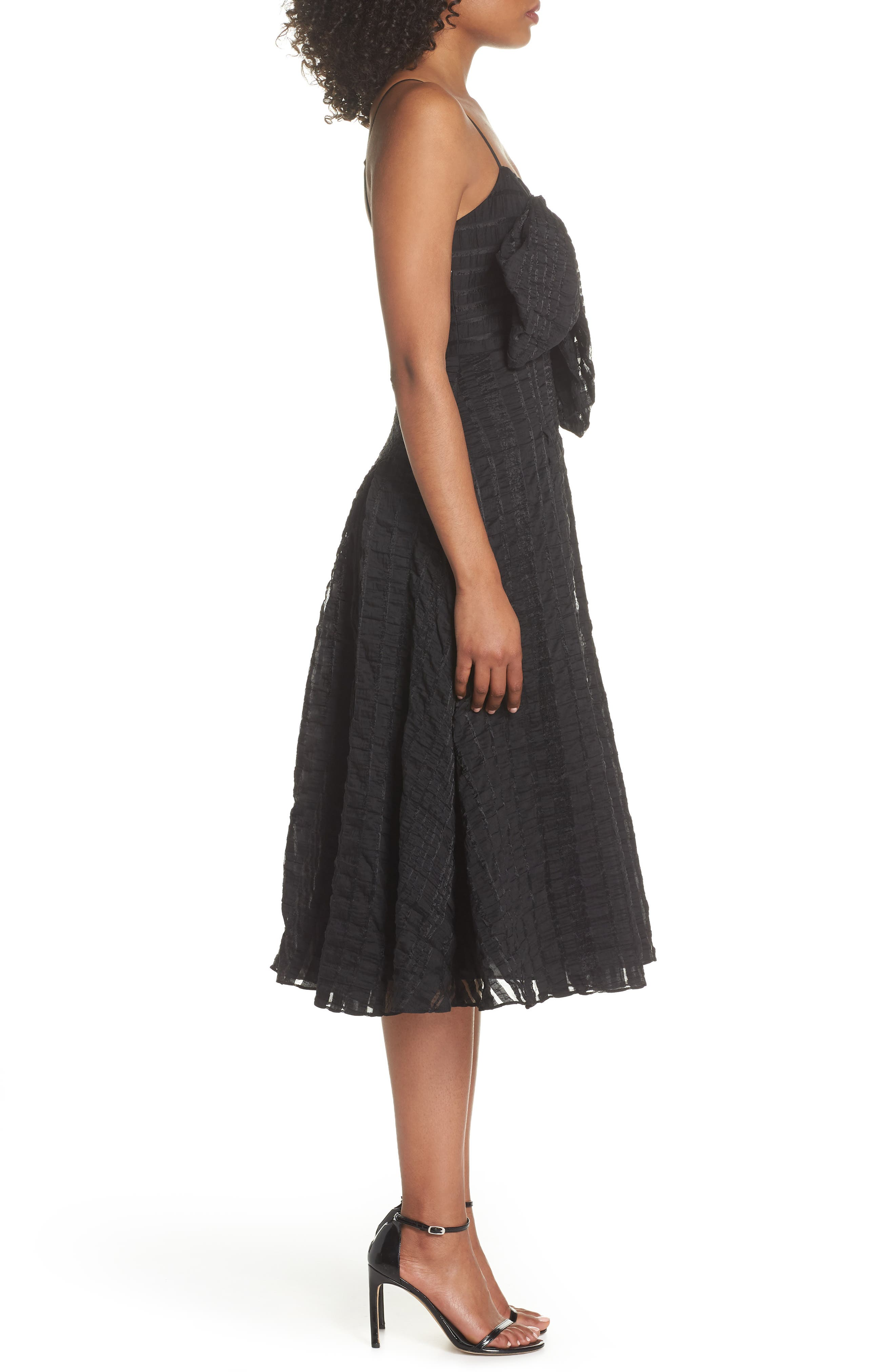 Susie Textured Tea Length Dress,                             Alternate thumbnail 3, color,                             Black