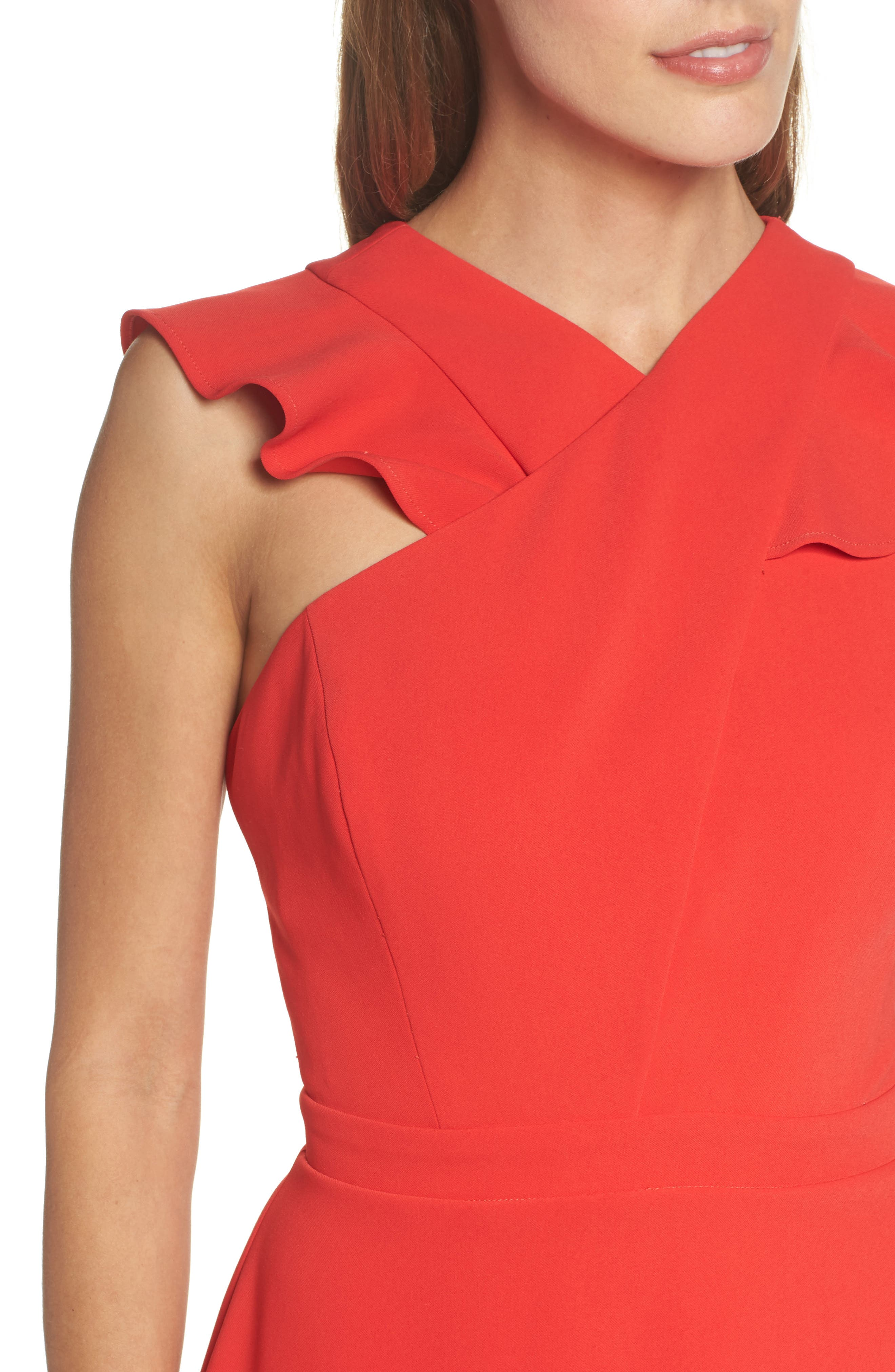 Cross Front Ruffle Dress,                             Alternate thumbnail 3, color,                             Red Mars