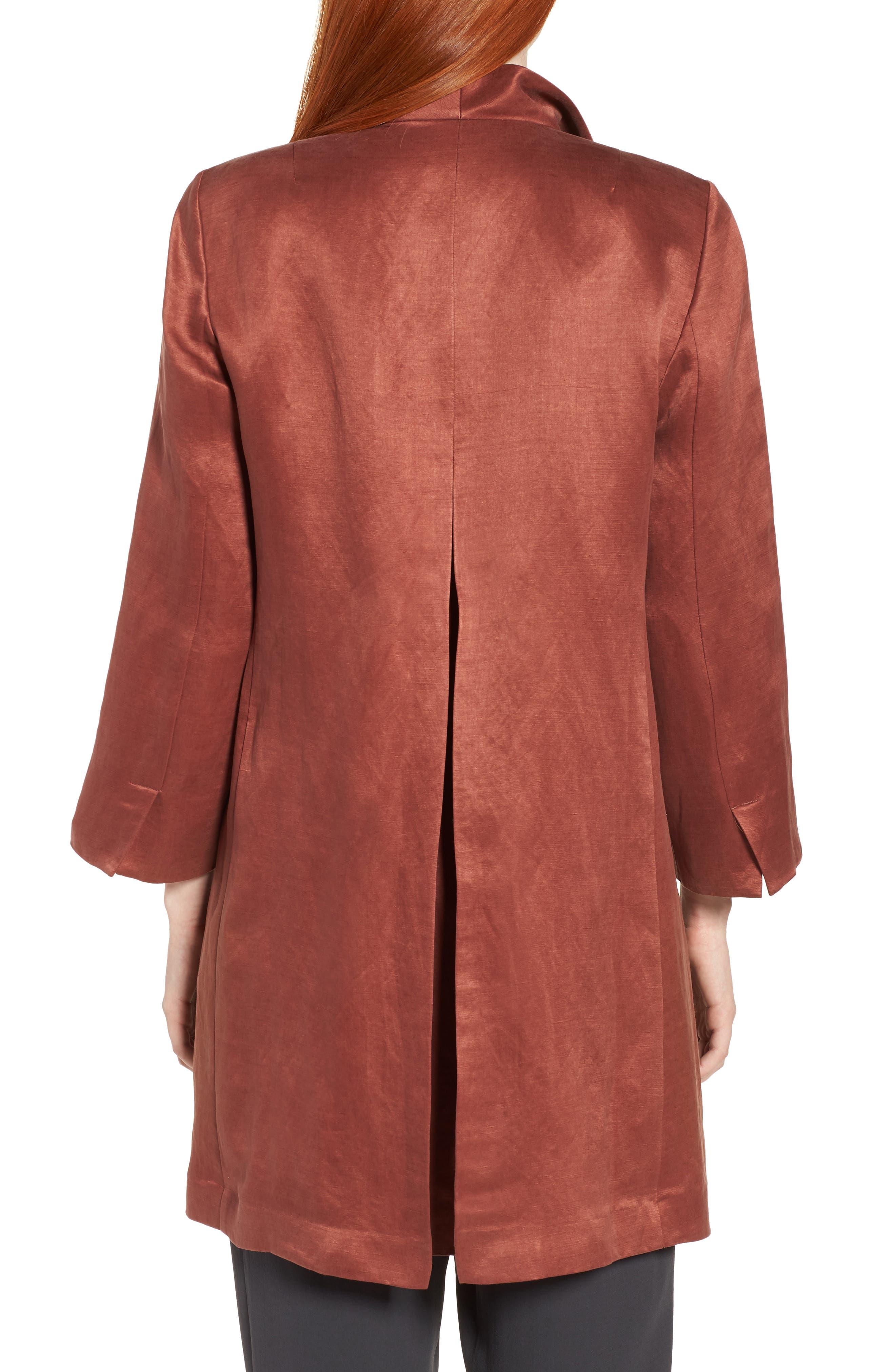 High Collar Long Jacket,                             Alternate thumbnail 2, color,                             Russet