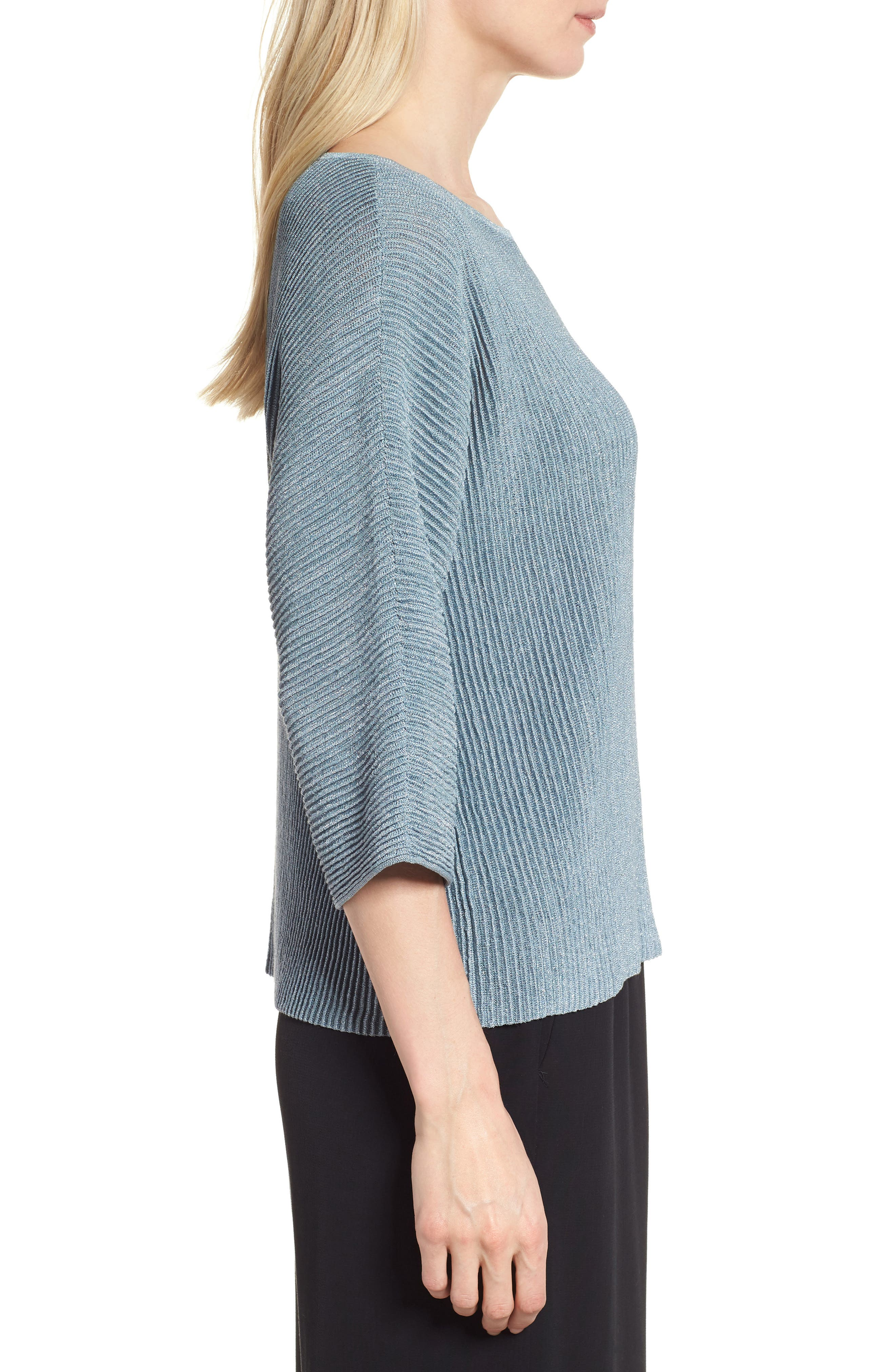 Metallic Hemp Blend Sweater,                             Alternate thumbnail 3, color,                             Blue Steel