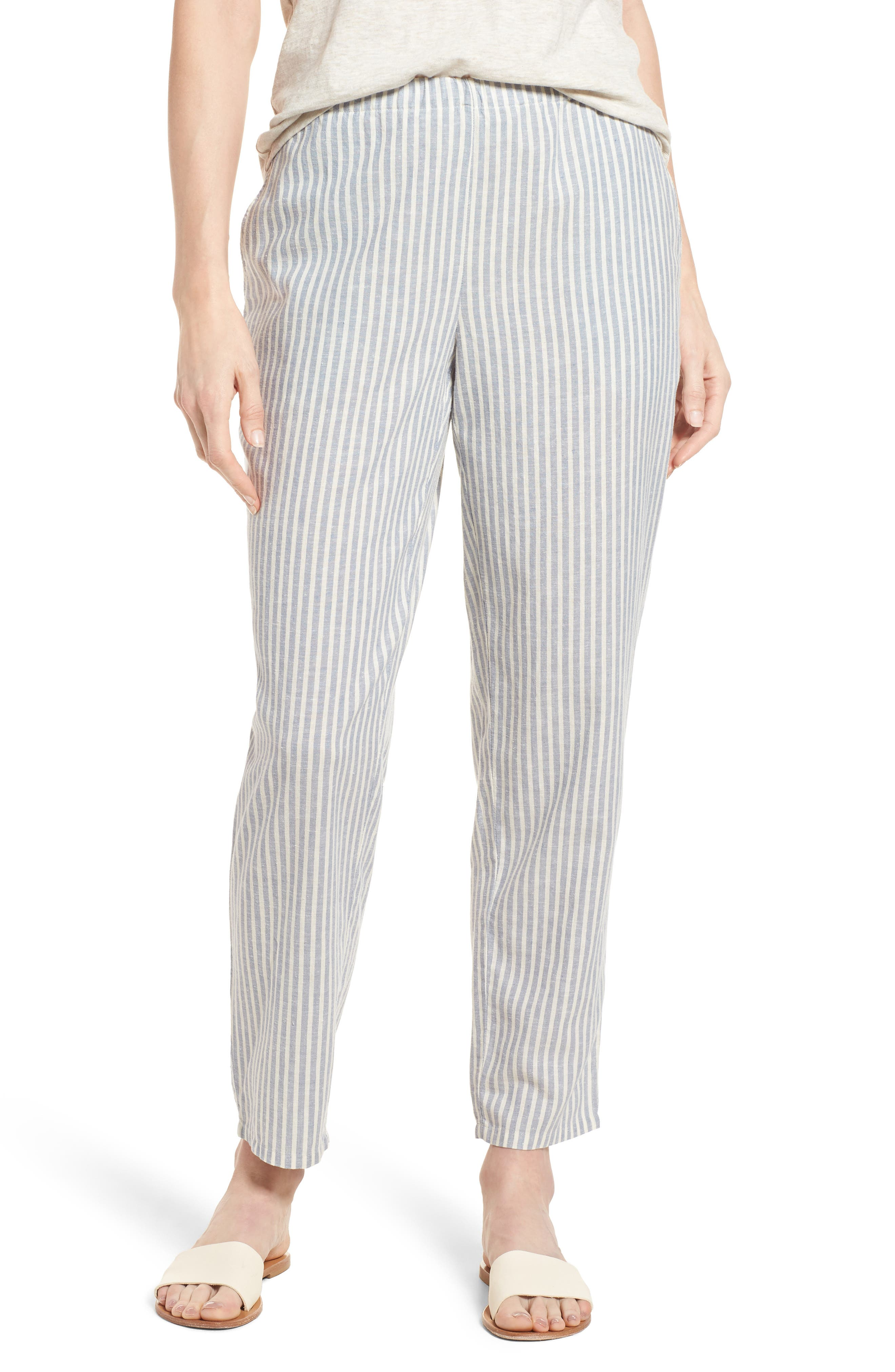 Stripe Tapered Hemp Blend Ankle Pants,                         Main,                         color, Chambray