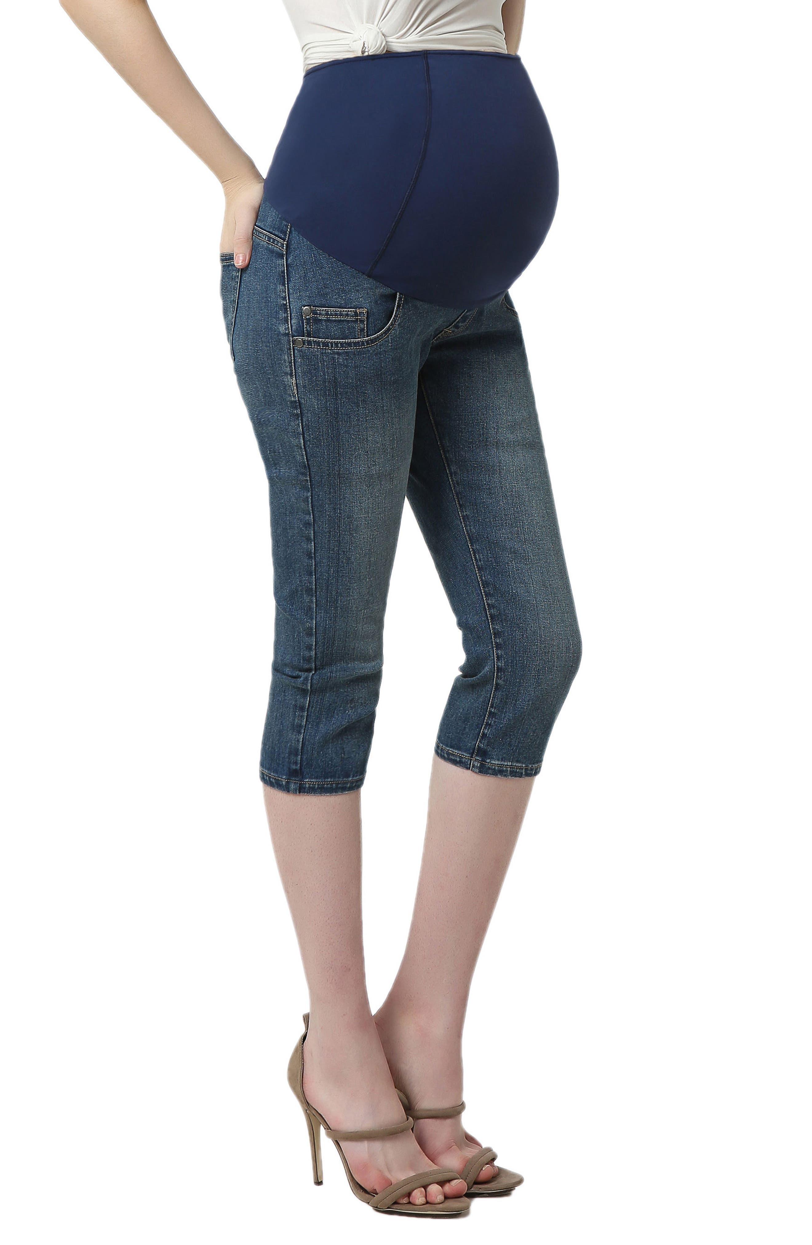 Courtney Capri Maternity Skinny Jeans,                             Alternate thumbnail 3, color,                             Medium Indigo