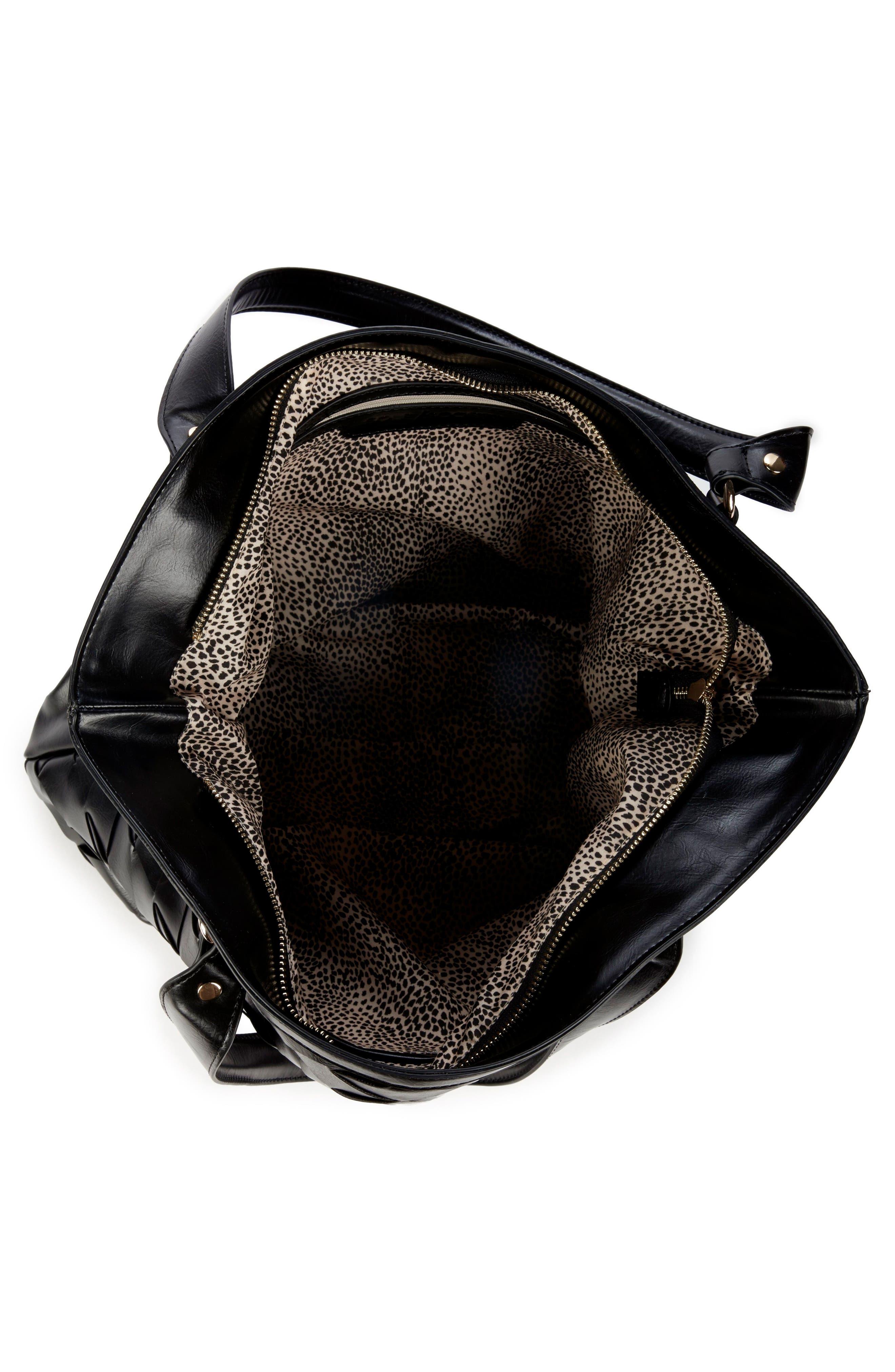 Adrina Faux Leather Tote,                             Alternate thumbnail 3, color,                             Black