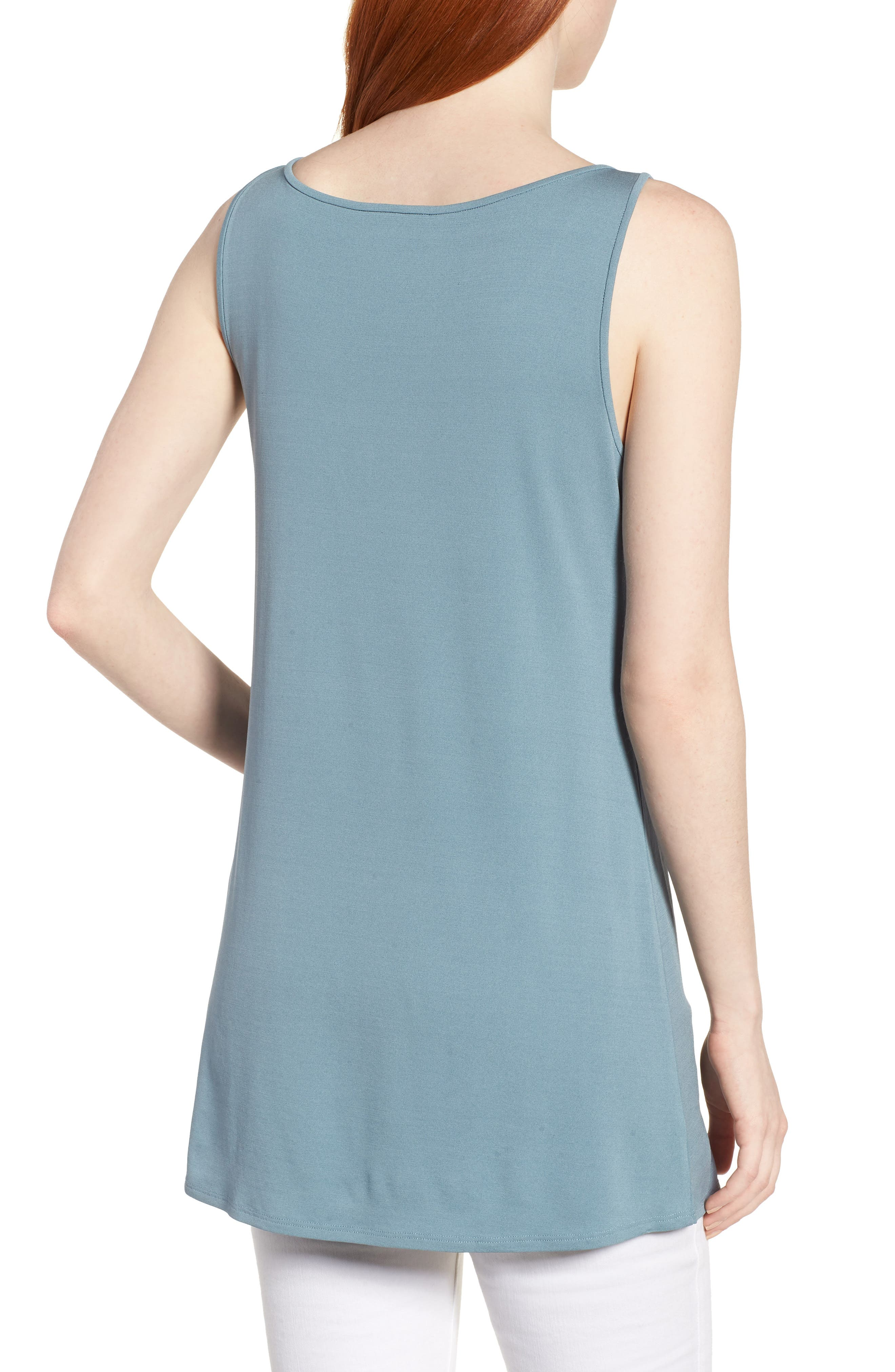 Long Silk Tank,                             Alternate thumbnail 2, color,                             Blue Steel