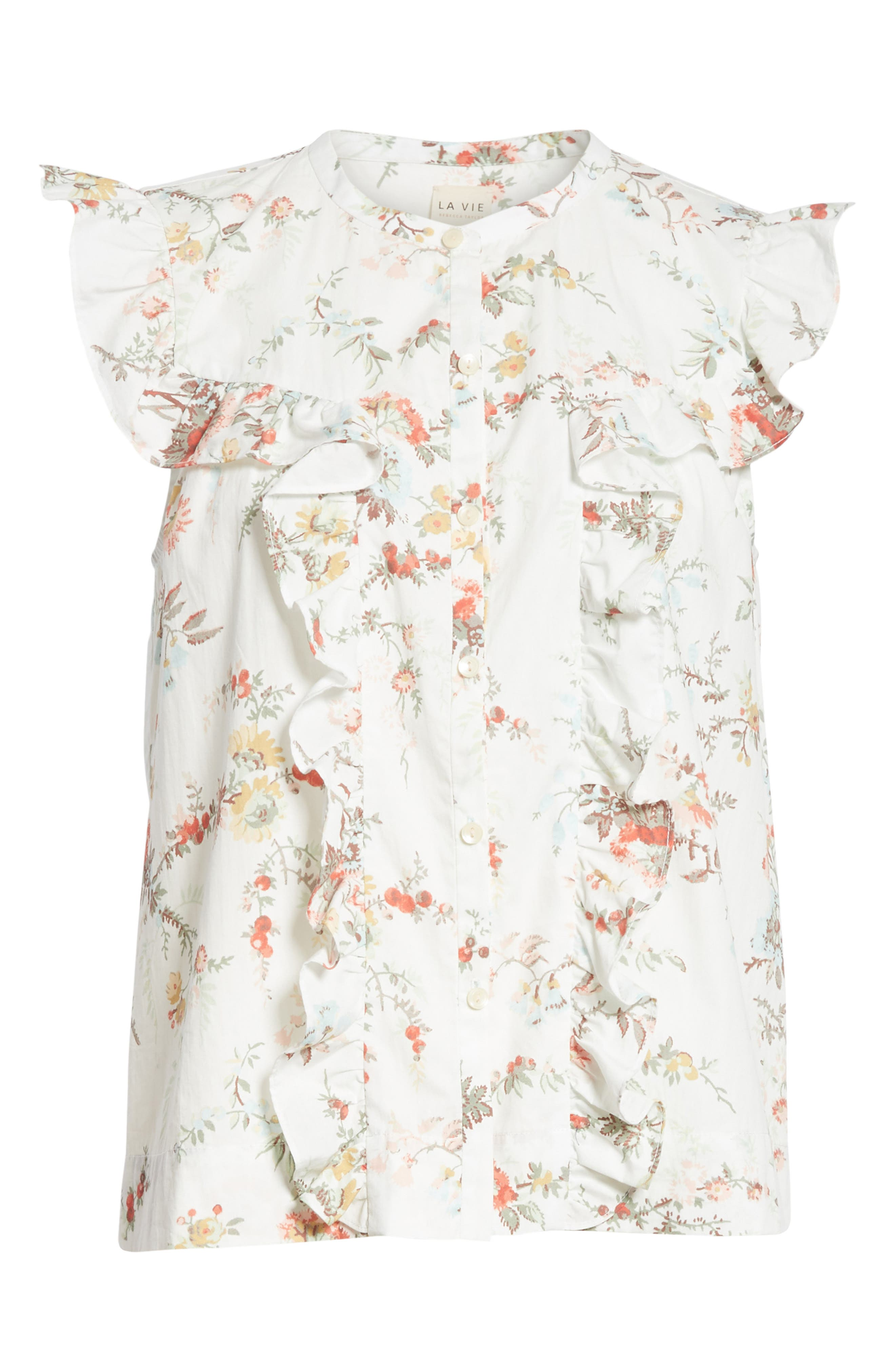 Belle Ruffle Floral Cotton Top,                             Alternate thumbnail 6, color,                             Milk Combo