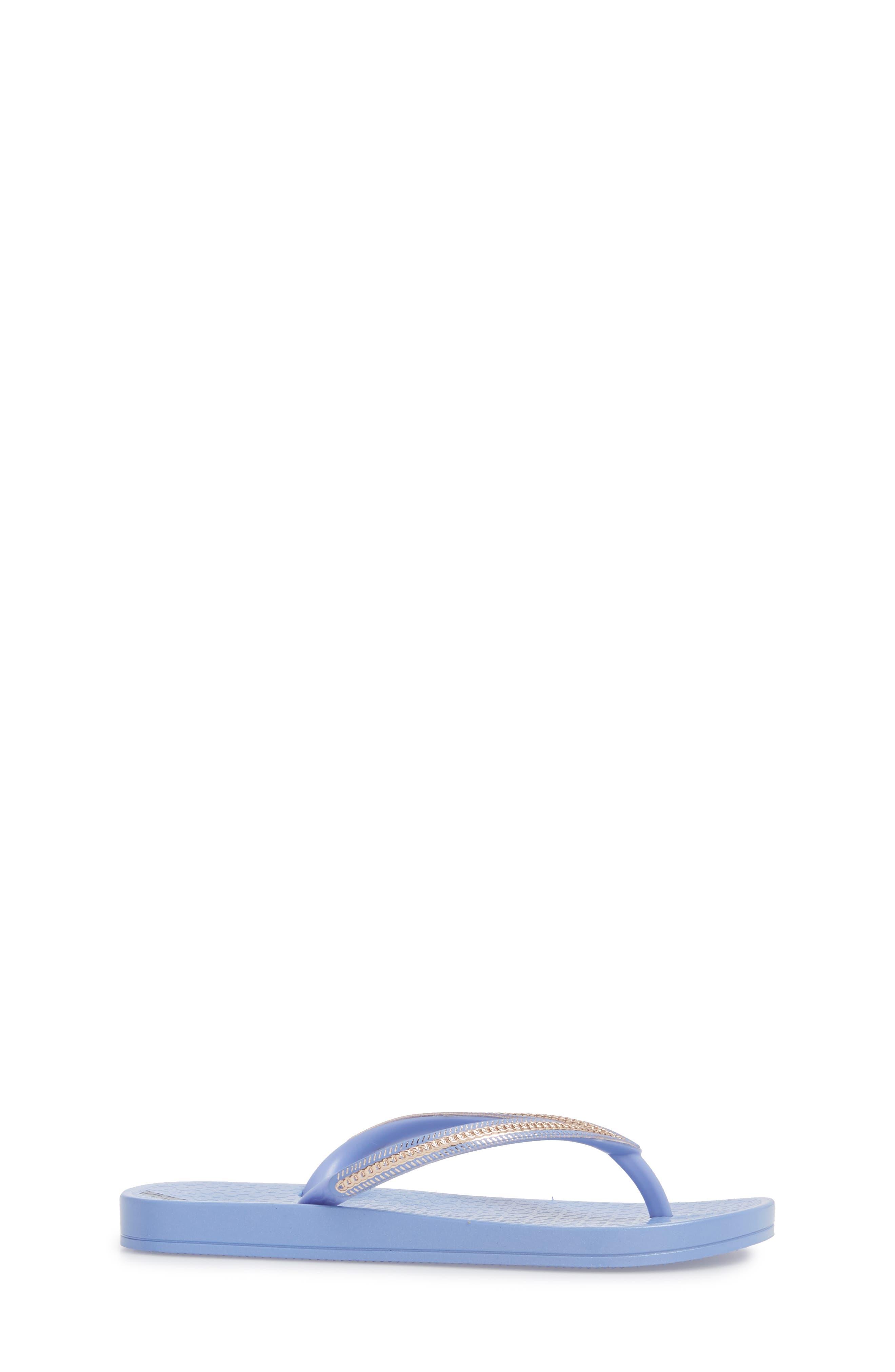 Ana Metallic Flip Flop,                             Alternate thumbnail 3, color,                             Blue/ Rose
