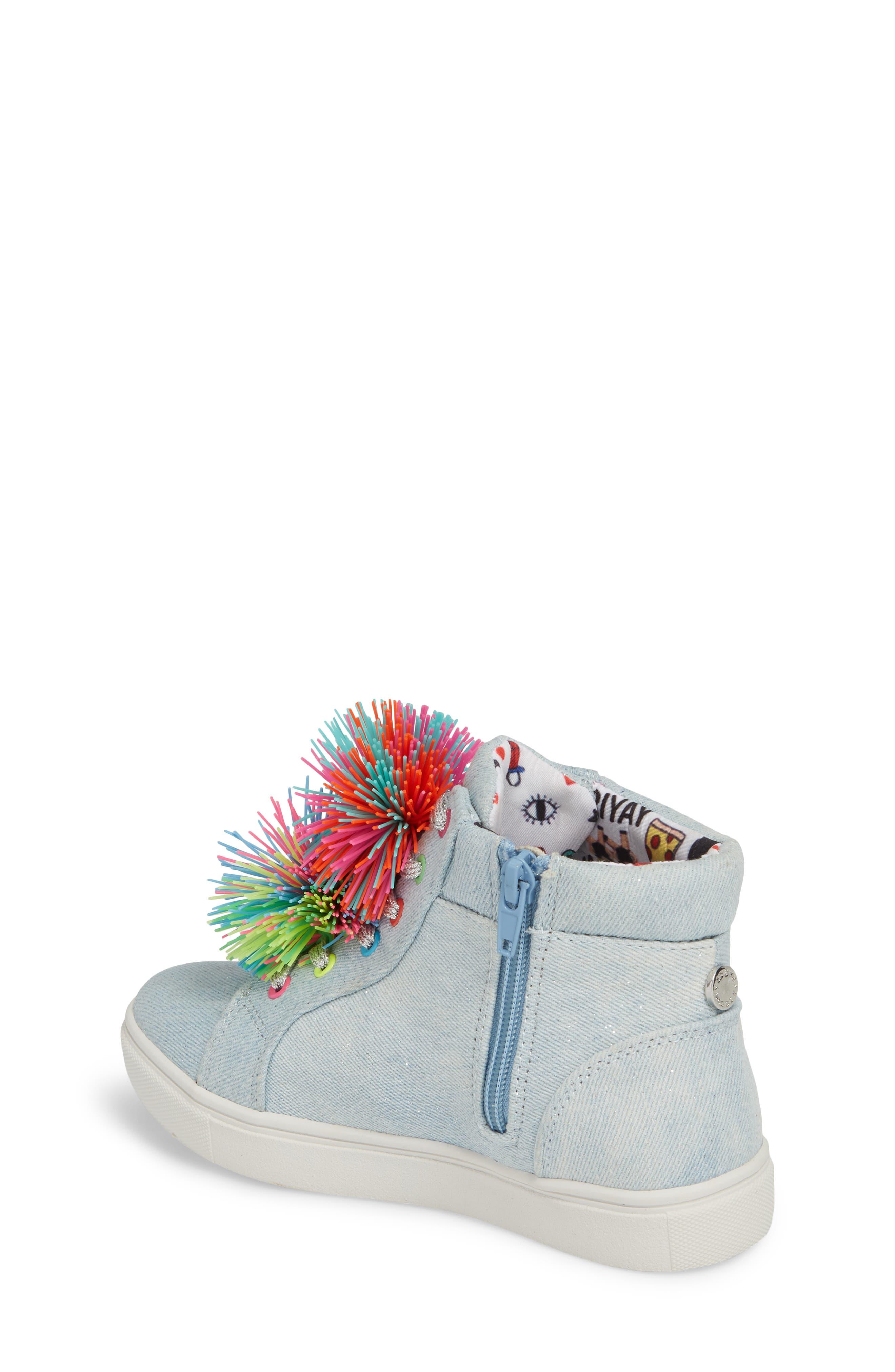 JBrendie Pompom High Top Sneaker,                             Alternate thumbnail 2, color,                             Denim
