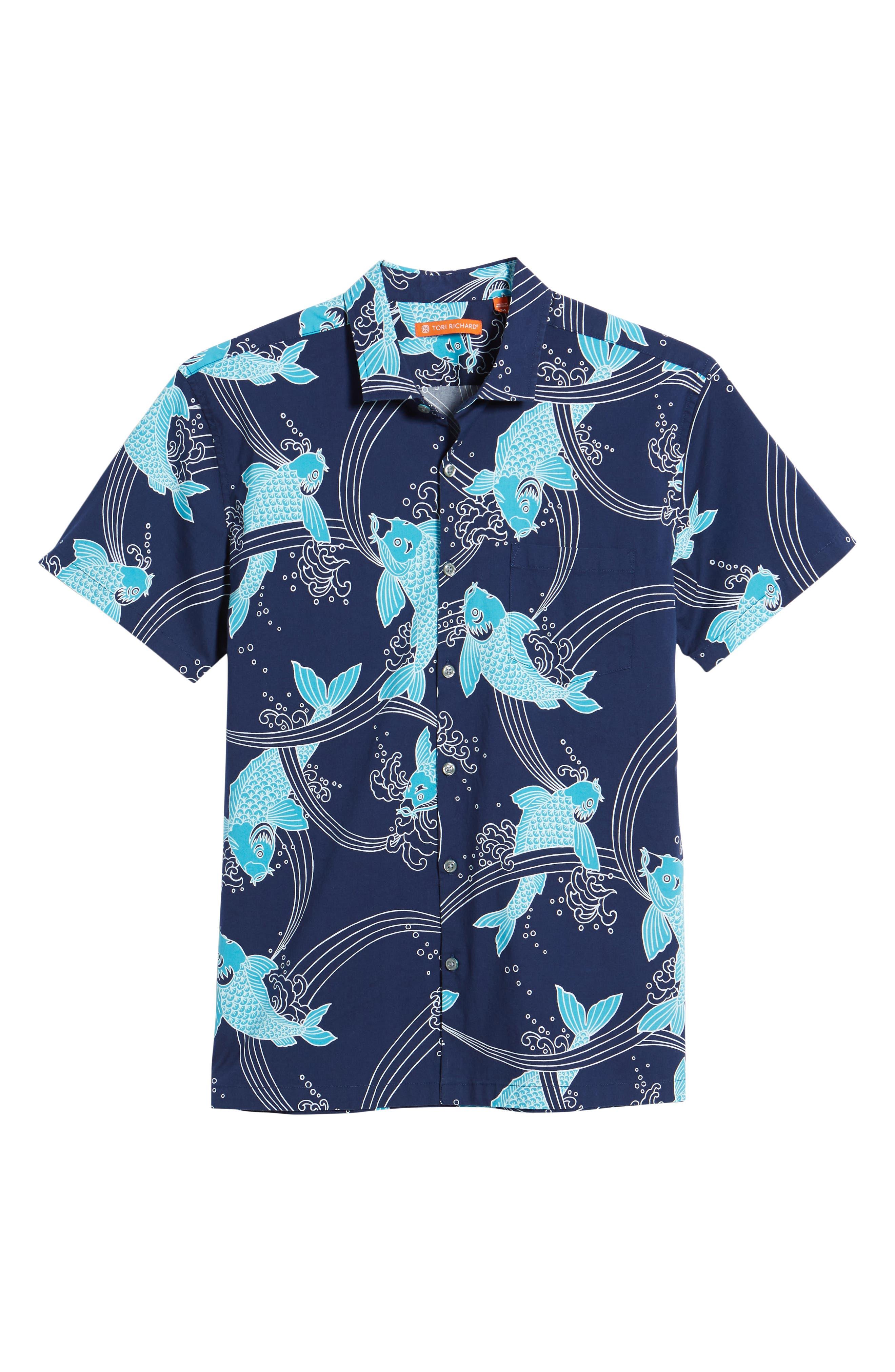 Koi Cabana Trim Fit Camp Shirt,                             Alternate thumbnail 6, color,                             Navy