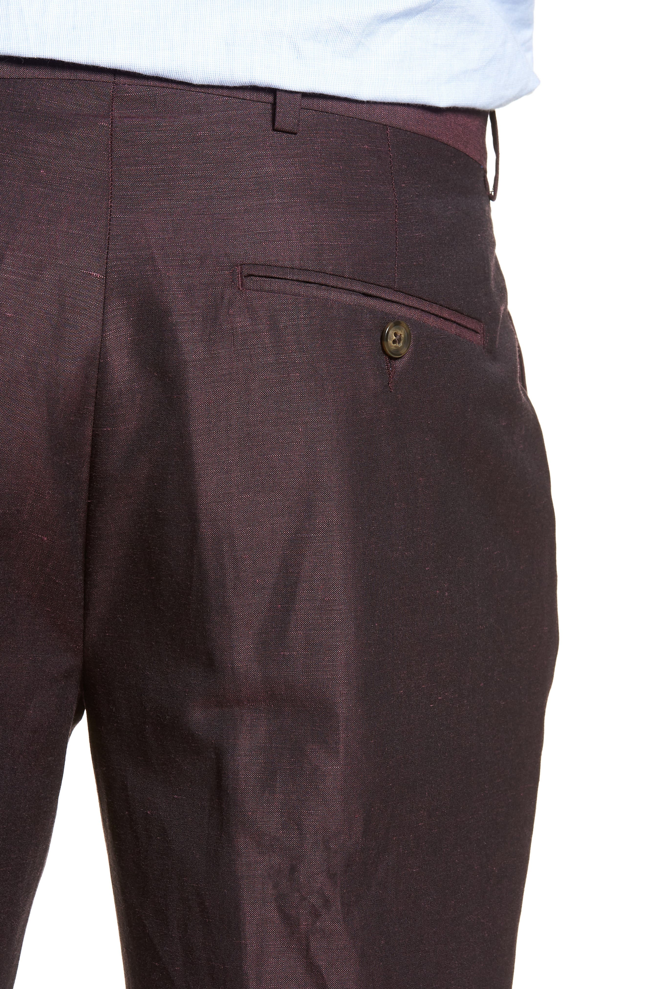 Dagger Flat Front Solid Wool & Linen Trousers,                             Alternate thumbnail 4, color,                             Plum