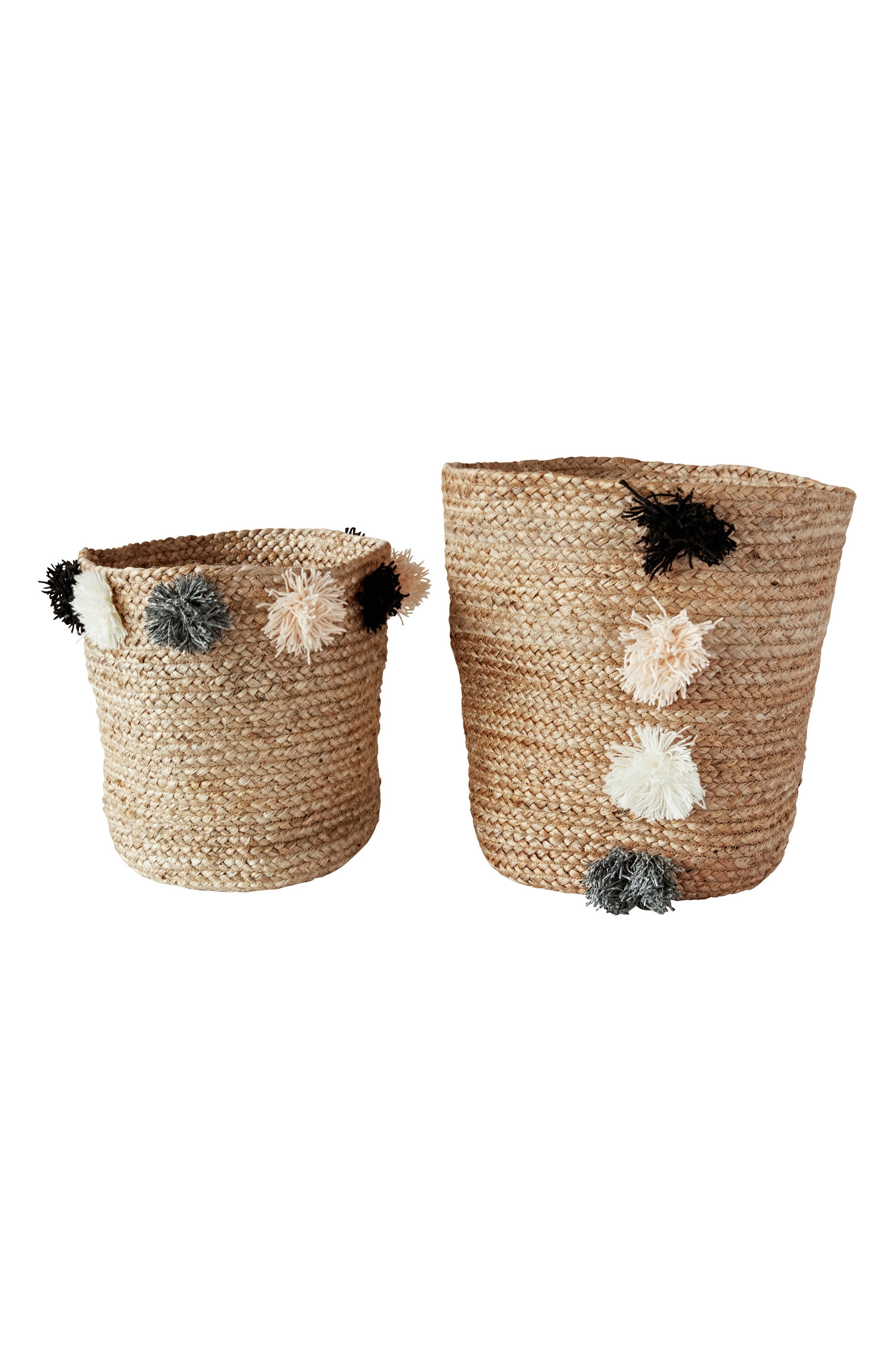 Set of 2 Jute Braided Baskets,                         Main,                         color, Natural