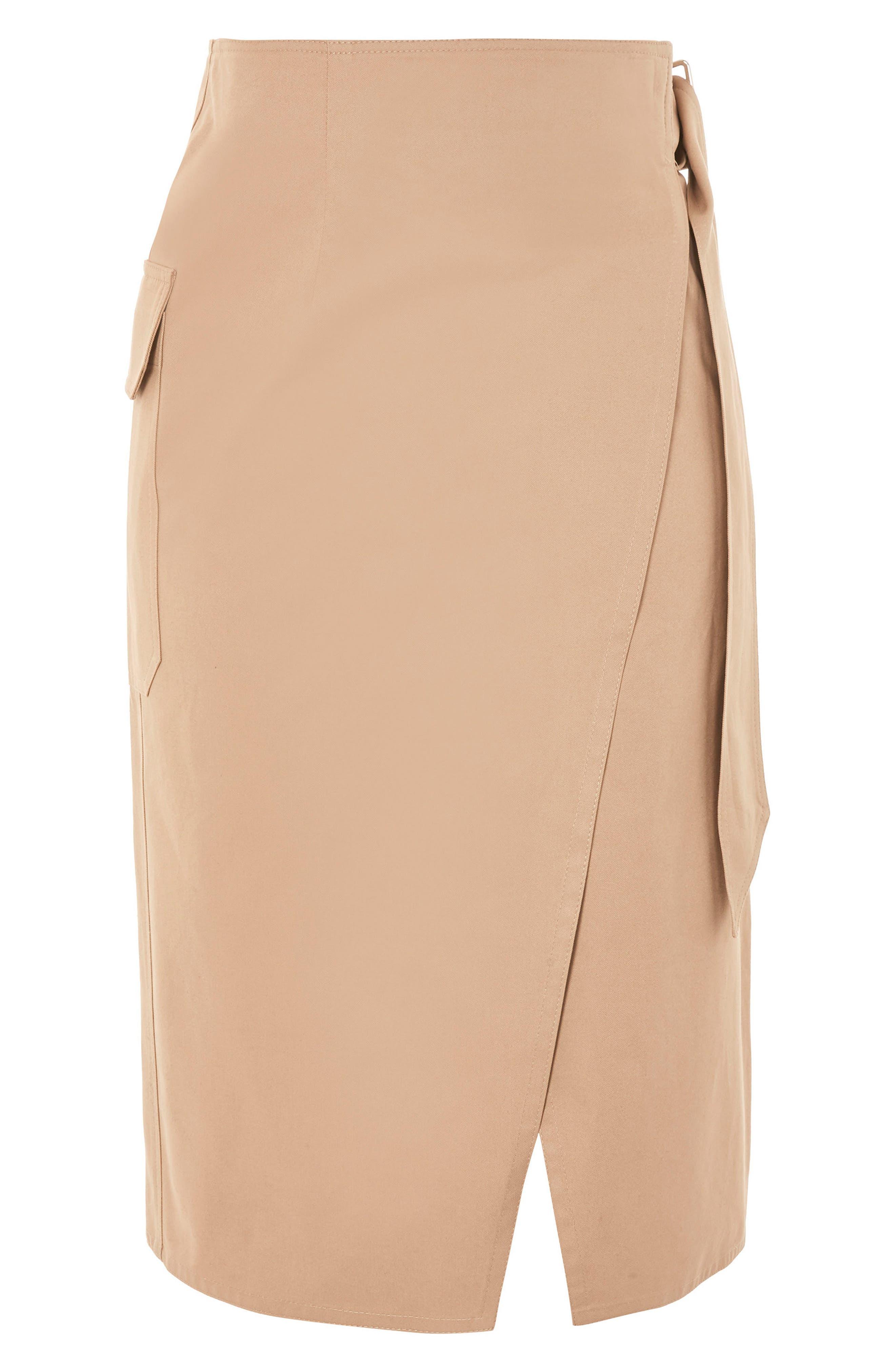 Boutique Utility Wrap Skirt,                         Main,                         color, Stone