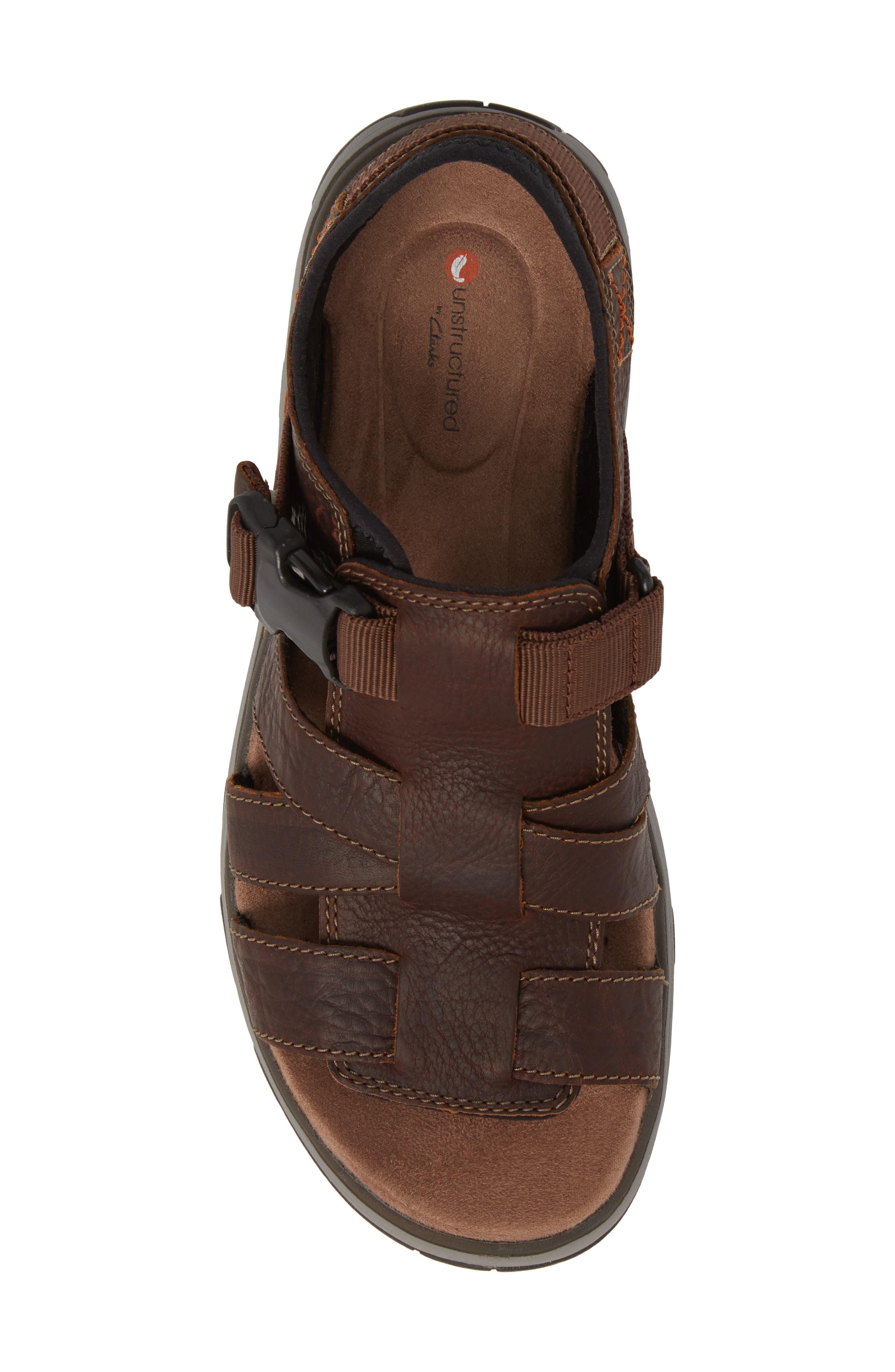 Clarks<sup>®</sup> Untrek Cove Fisherman Sandal,                             Alternate thumbnail 5, color,                             Dark Tan Leather
