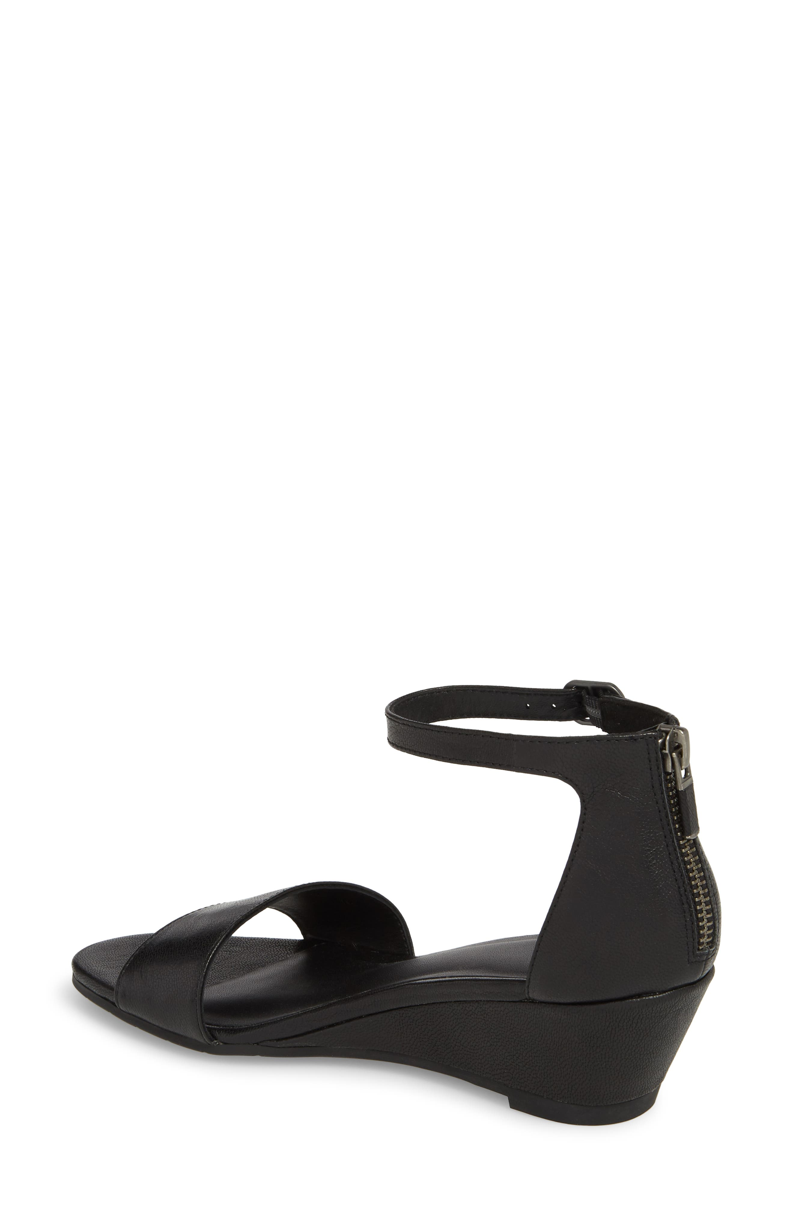 Mara Ankle Strap Wedge Sandal,                             Alternate thumbnail 2, color,                             Black Leather