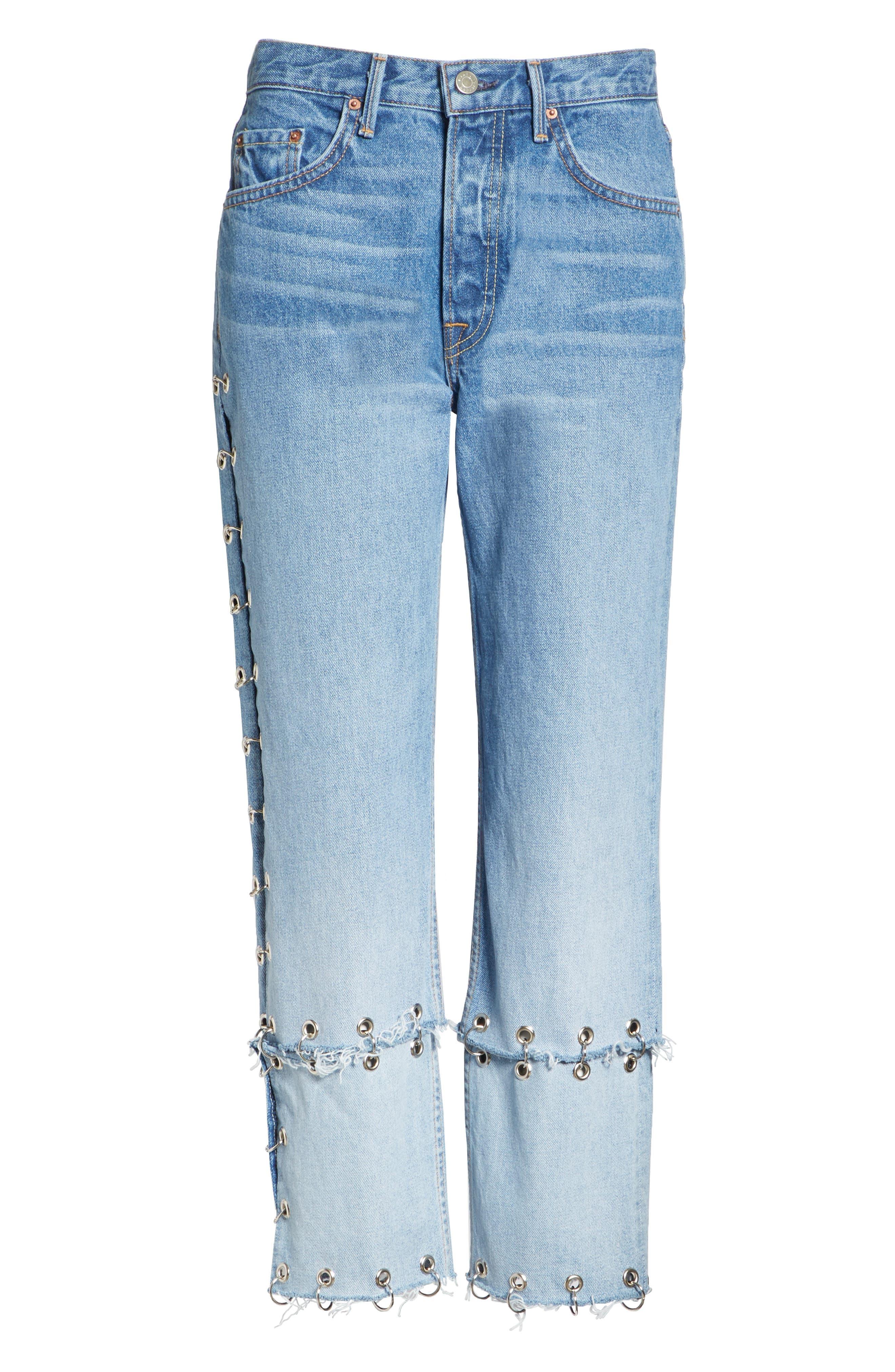 Helena Grommet Detail Straight Leg Crop Jeans,                             Alternate thumbnail 6, color,                             Blue