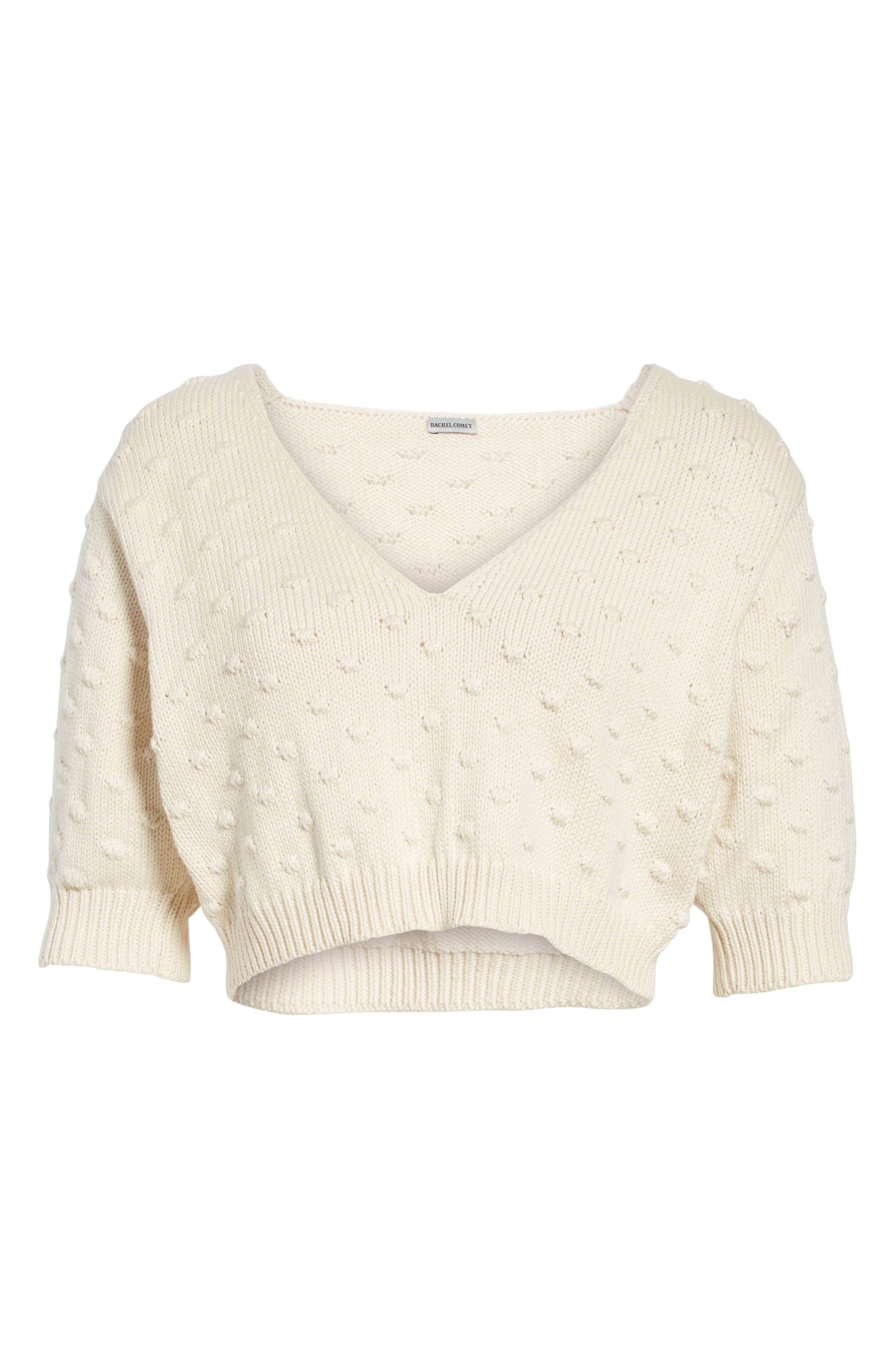 Ode Garbanzo Knit Crop Sweater,                             Alternate thumbnail 6, color,                             Ivory