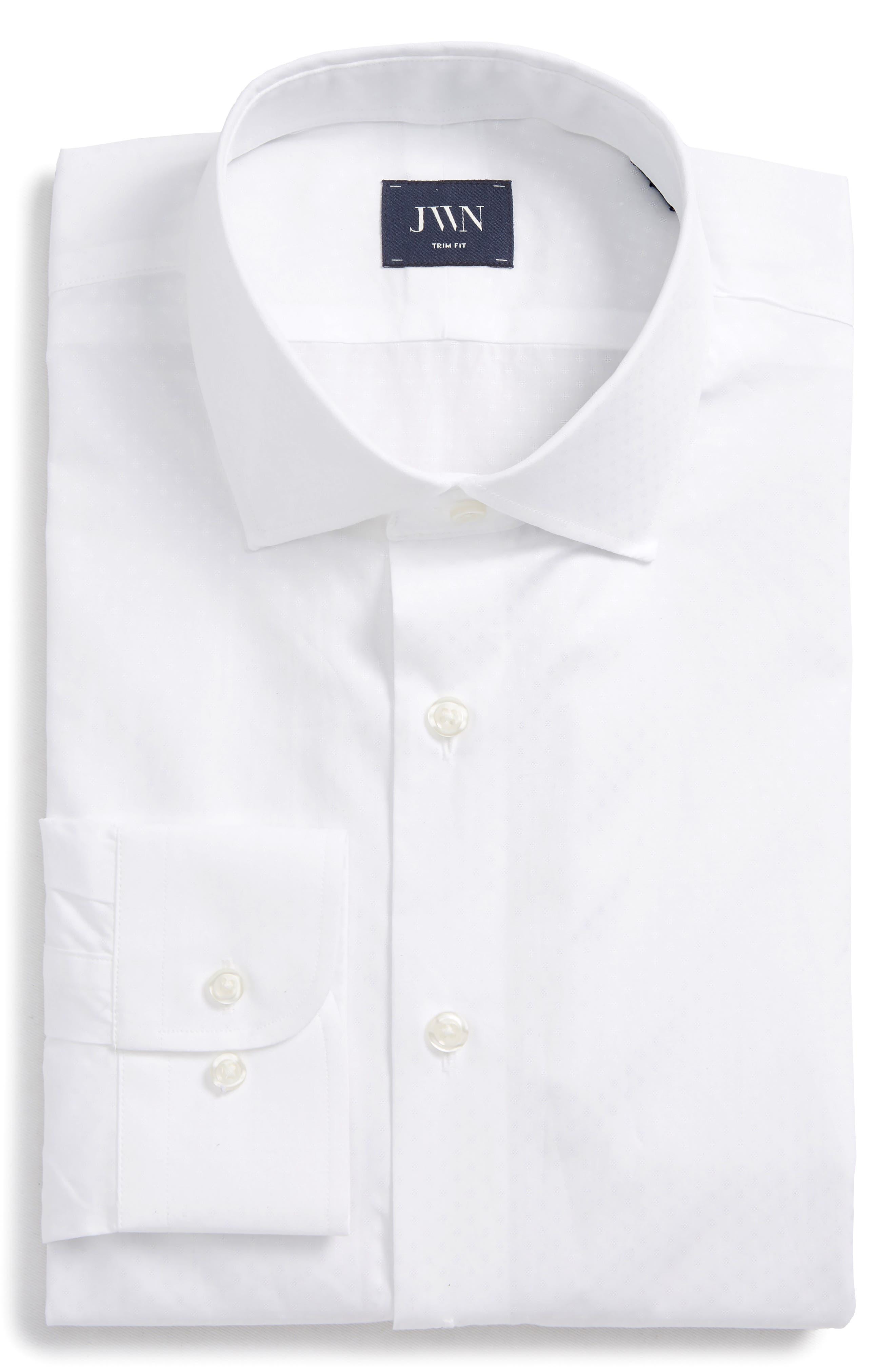 Trim Fit Dobby Dot Dress Shirt,                             Main thumbnail 1, color,                             White