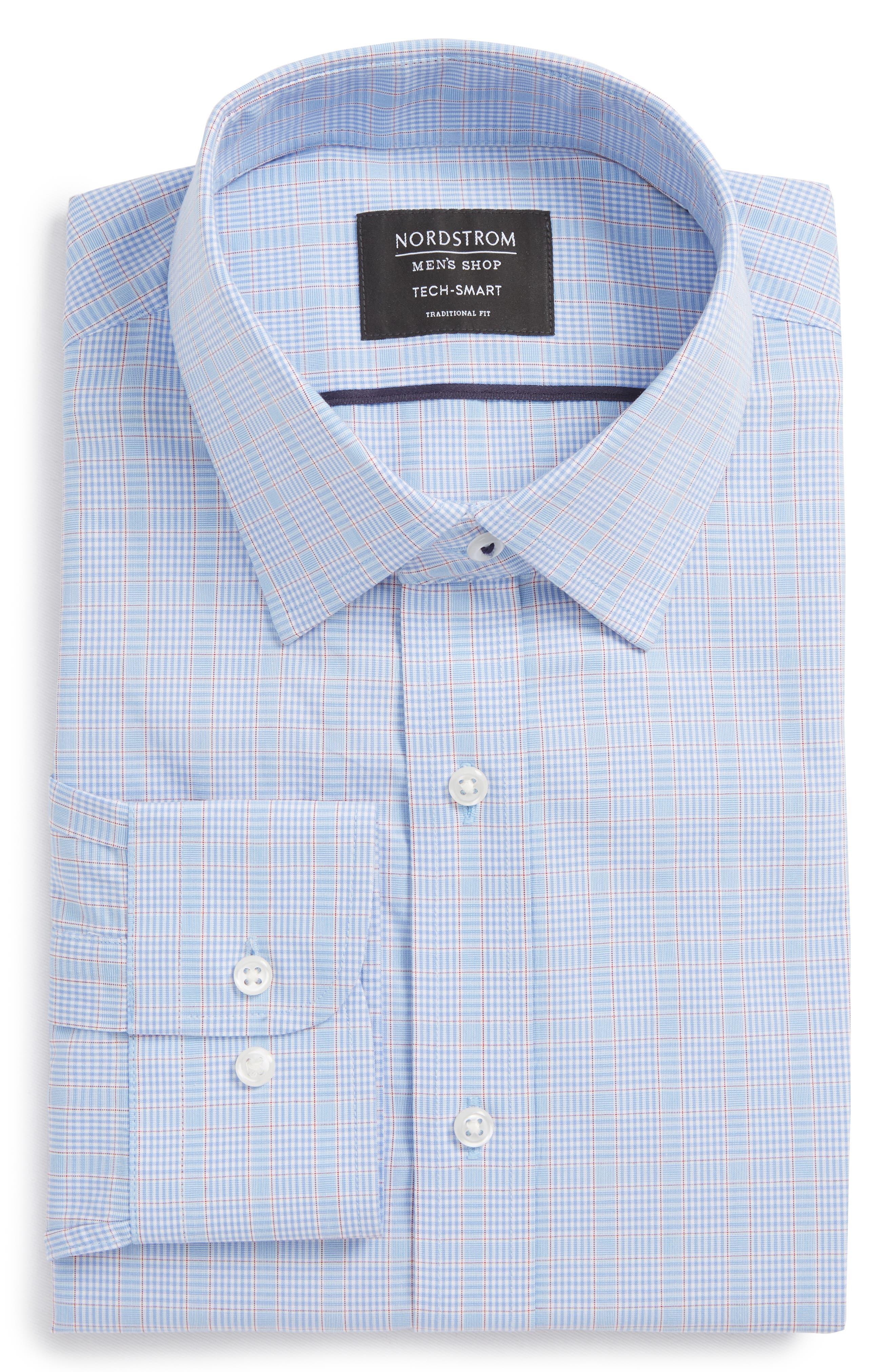 Tech-Smart Traditional Fit Stretch Plaid Dress Shirt,                             Main thumbnail 1, color,                             Blue Hydrangea