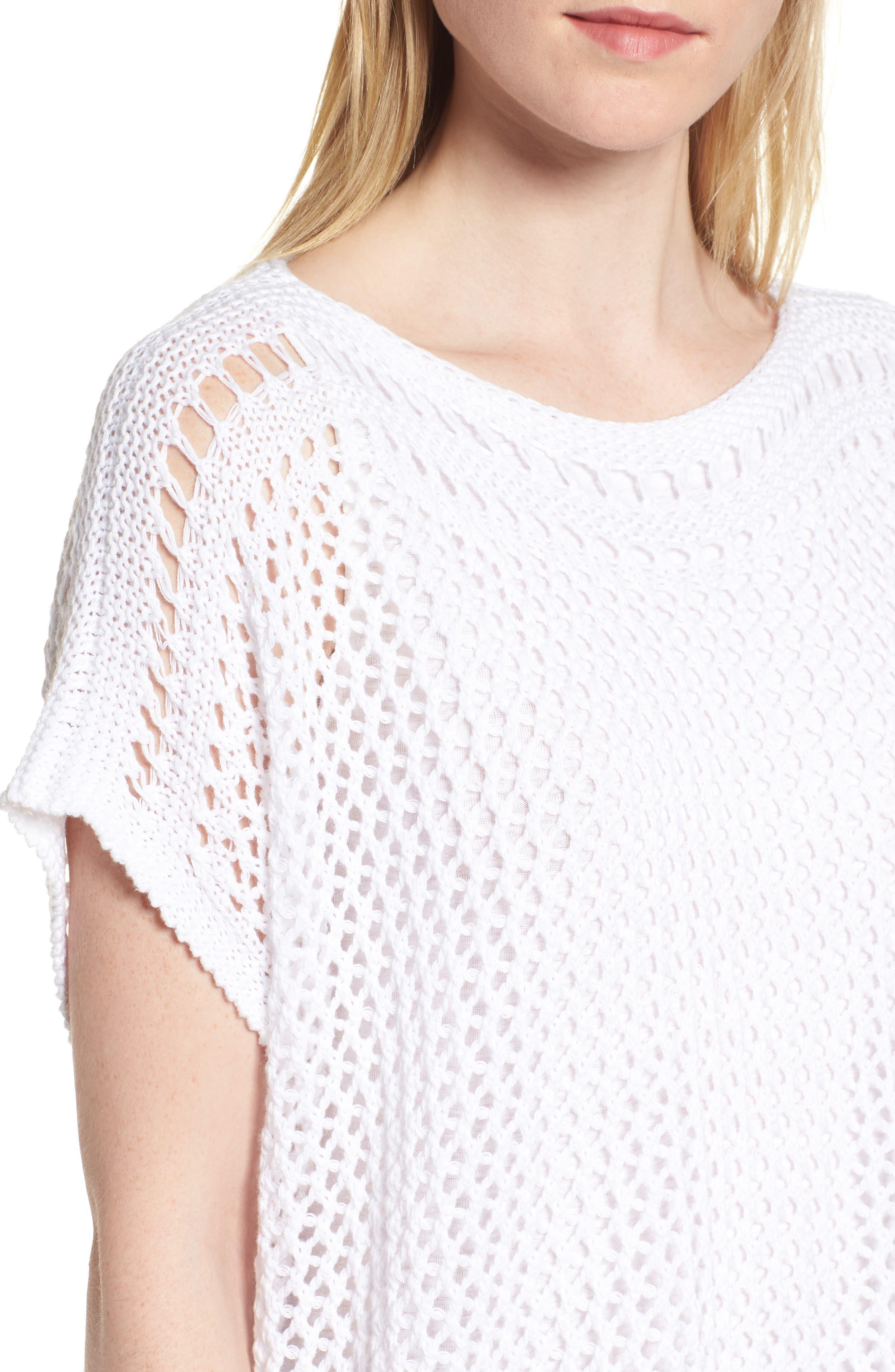 Organic Cotton Sweater,                             Alternate thumbnail 4, color,                             White