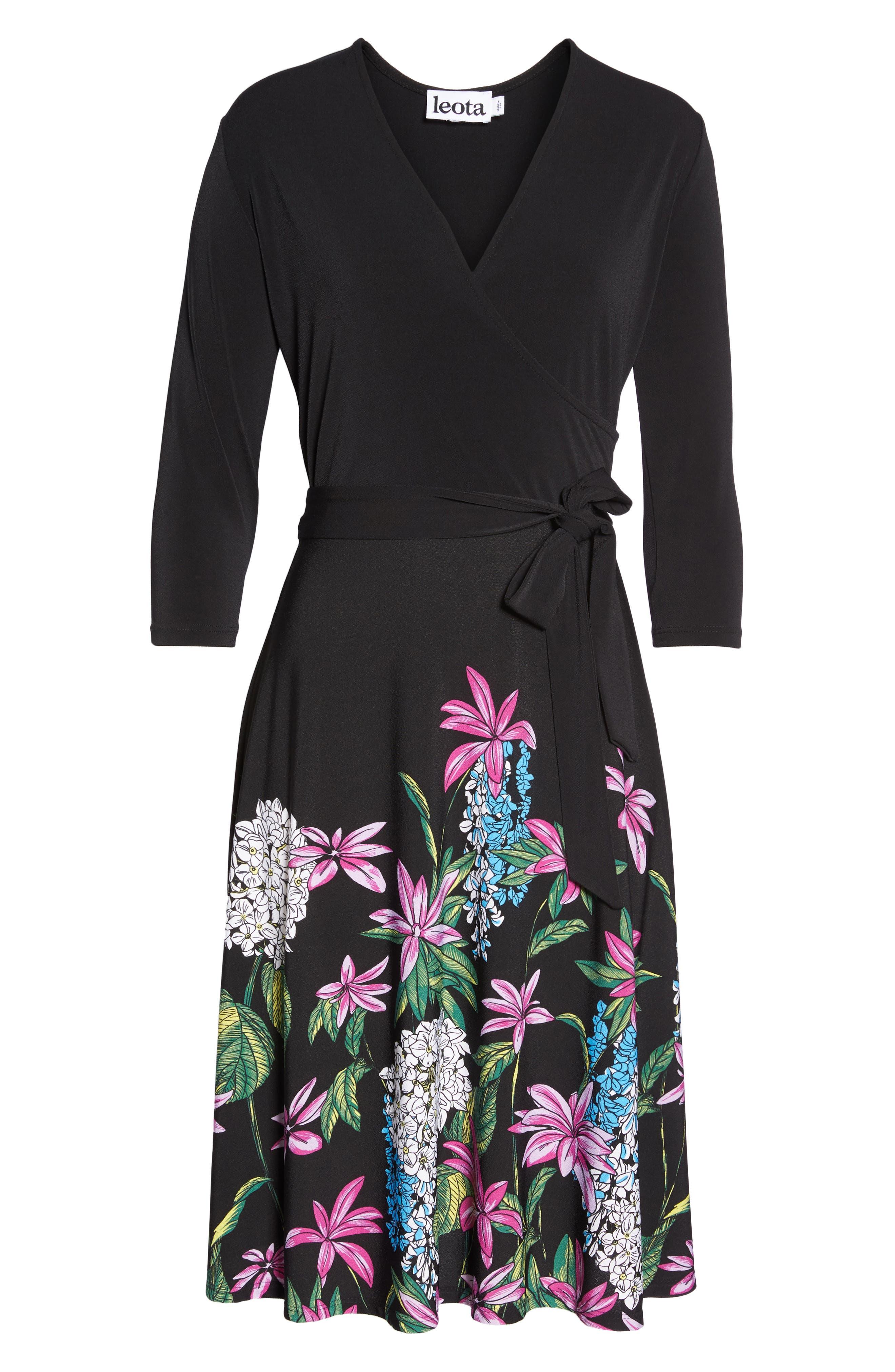 Print Jersey Faux Wrap Dress,                             Alternate thumbnail 7, color,                             Terrarium