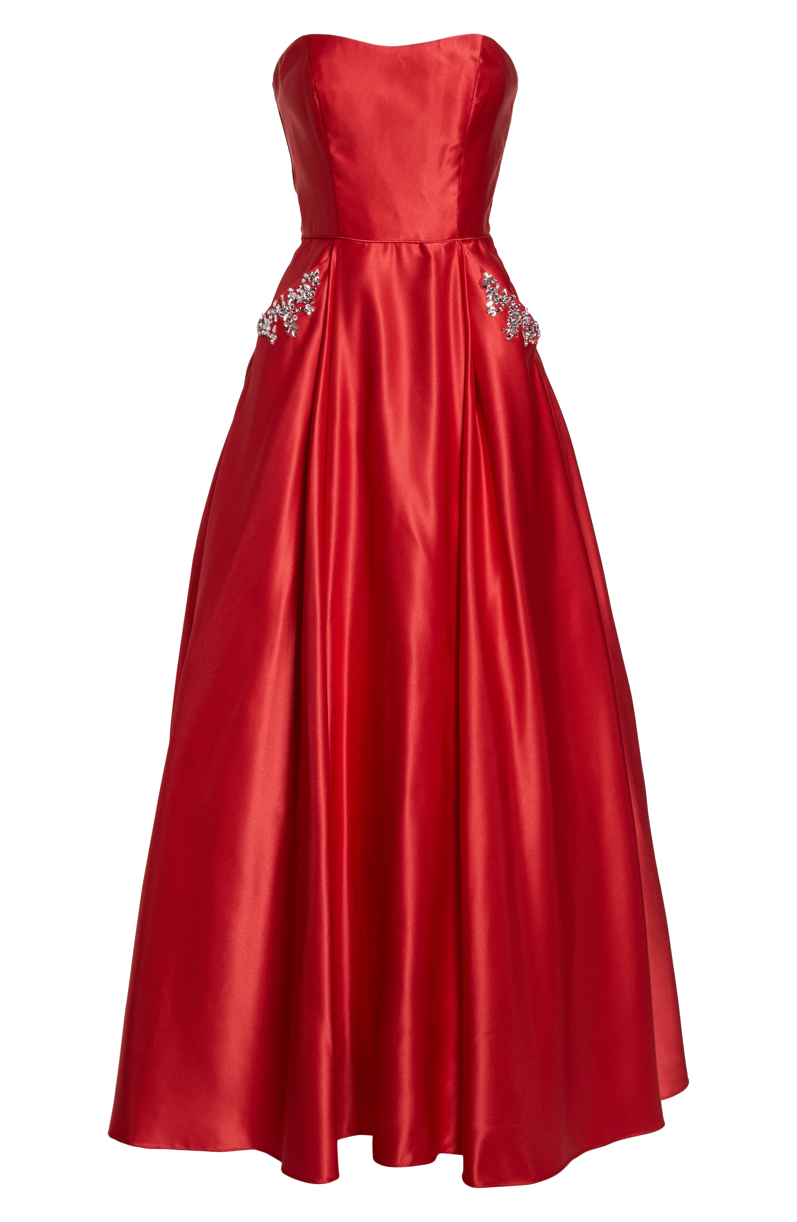 Embellished Strapless Ballgown,                             Alternate thumbnail 6, color,                             Red