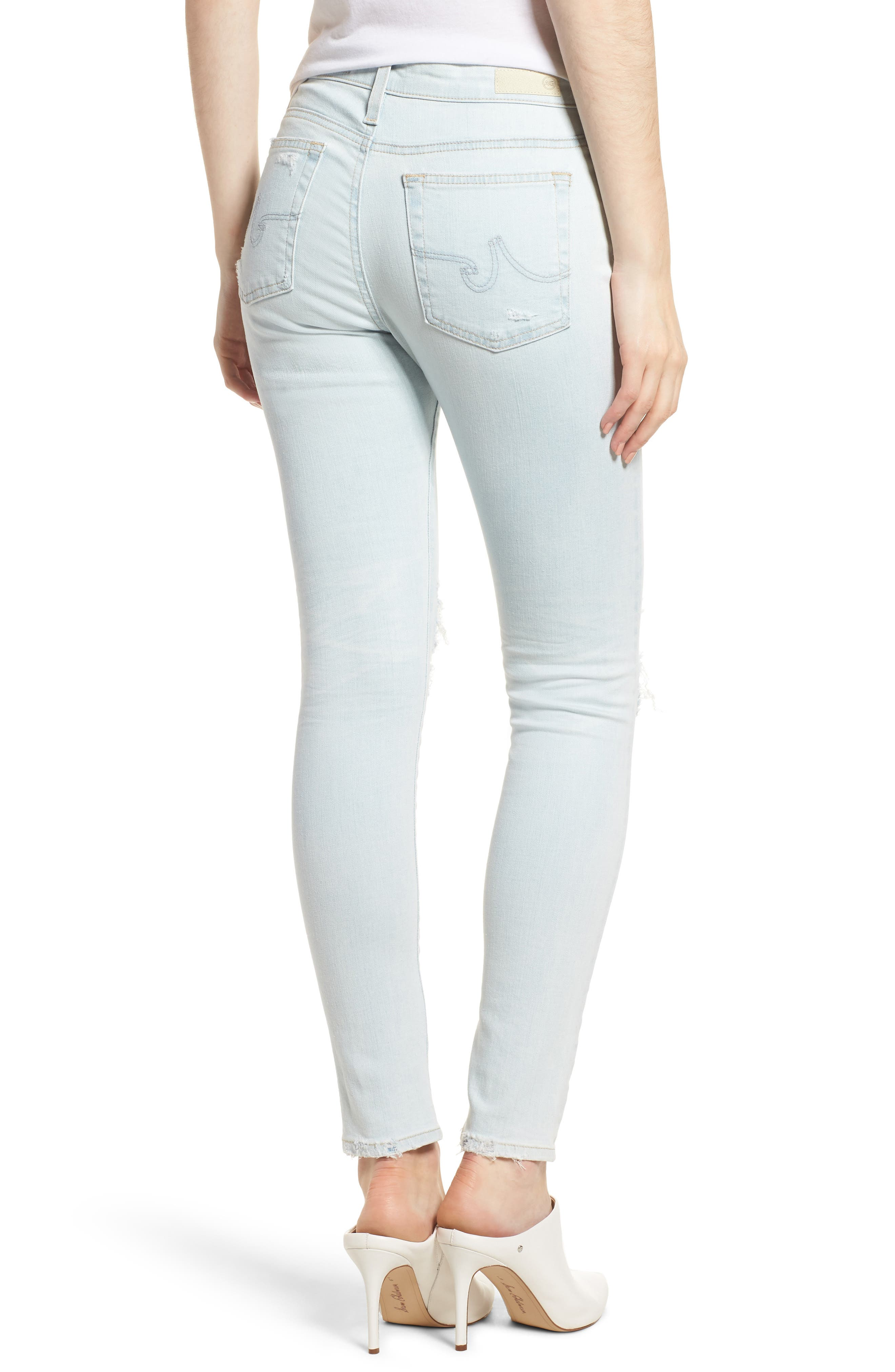 The Farrah Ripped High Waist Ankle Skinny Jeans,                             Alternate thumbnail 2, color,                             30 Years Wild Abandon