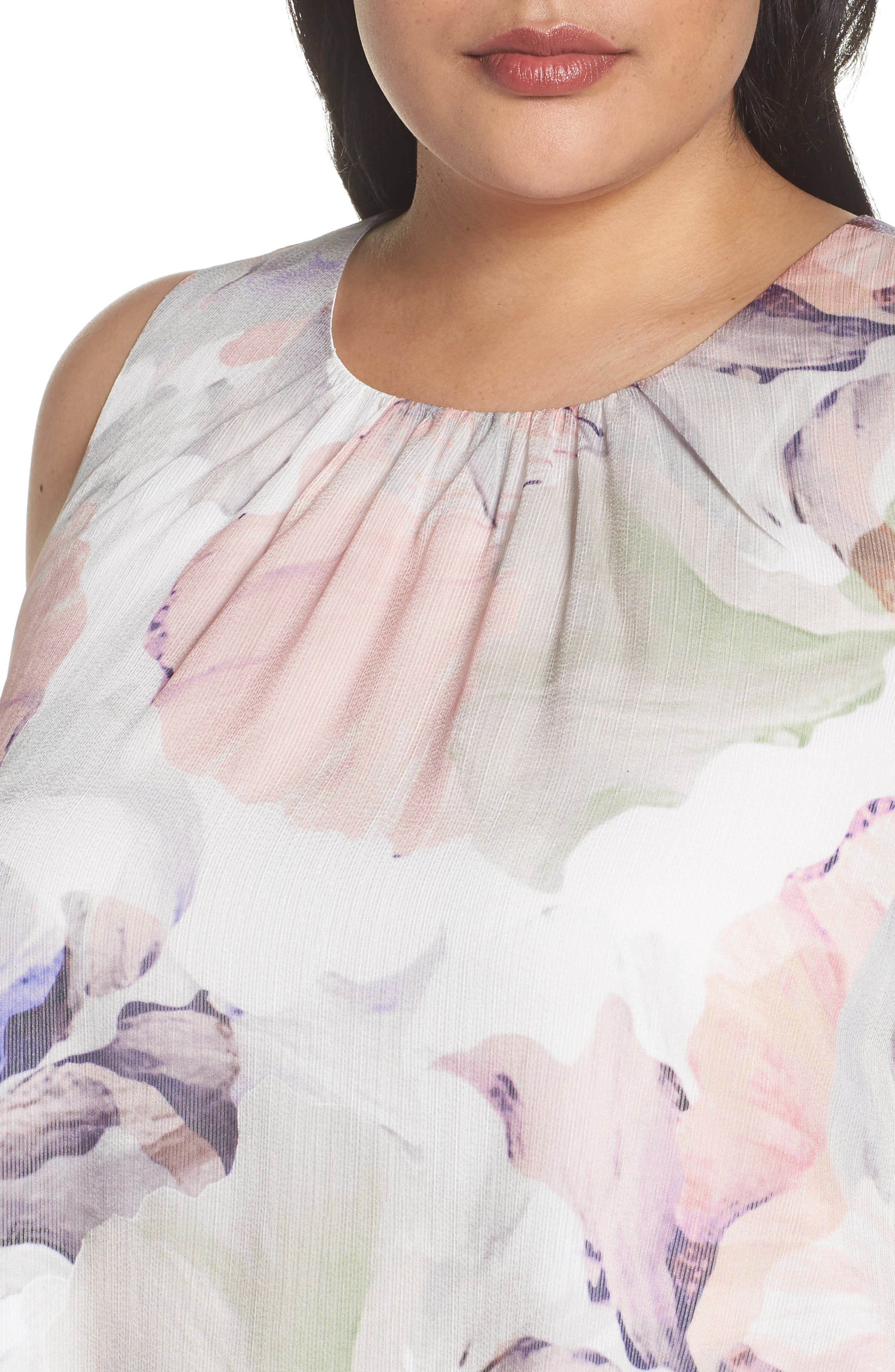 Diffused Blooms Blouse,                             Alternate thumbnail 4, color,                             New Ivory