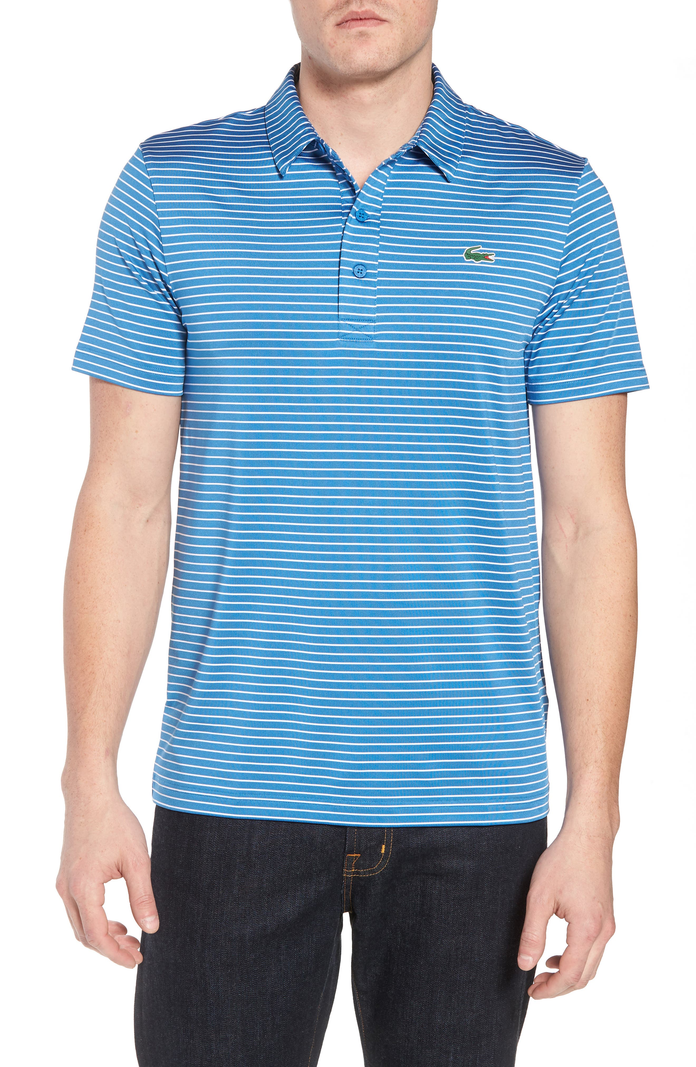 Stripe Polo,                             Main thumbnail 1, color,                             White/ Medway