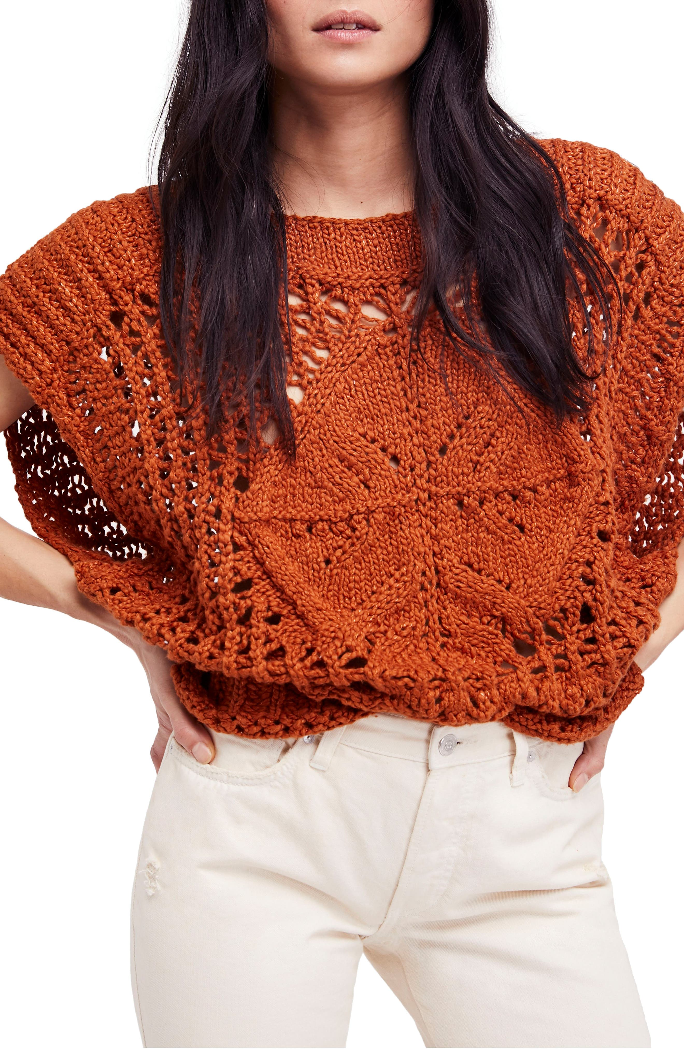 Diamond in the Rough Sweater,                             Main thumbnail 1, color,                             Terracotta
