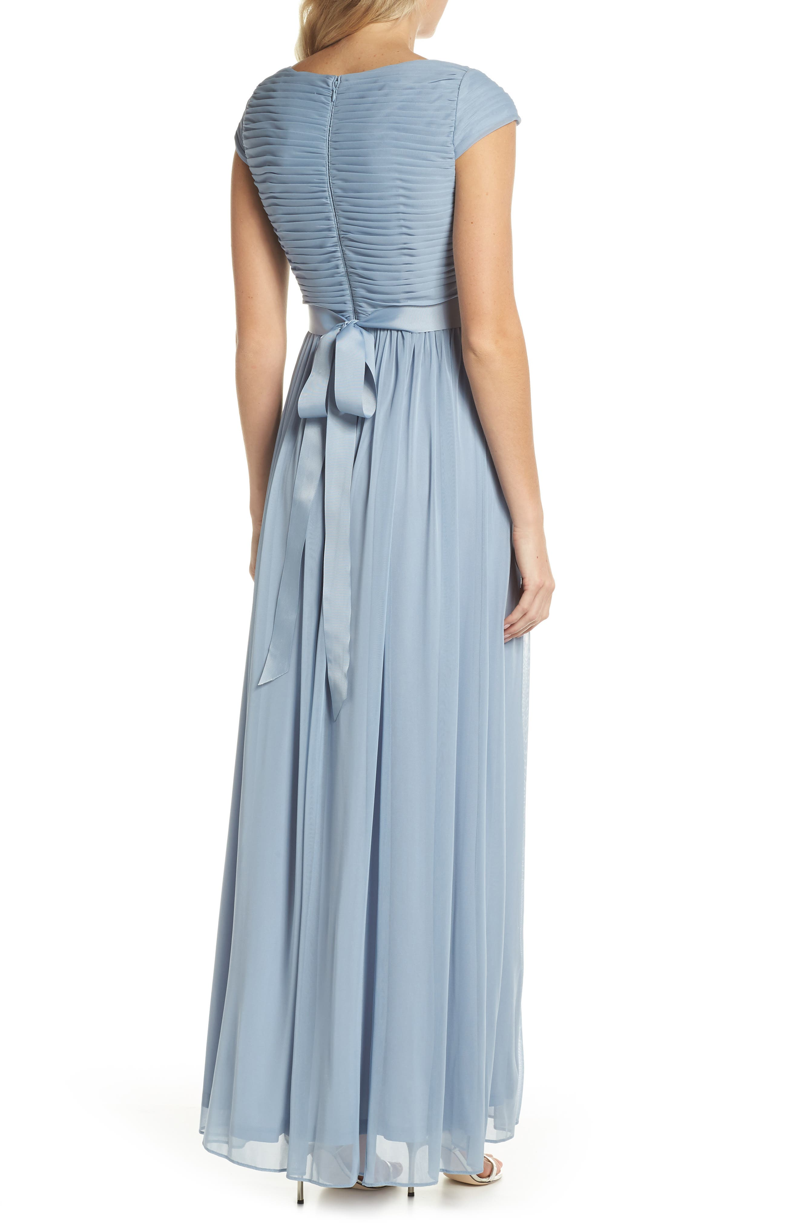 Shirred Chiffon Gown,                             Alternate thumbnail 2, color,                             Dusty Periwinkle