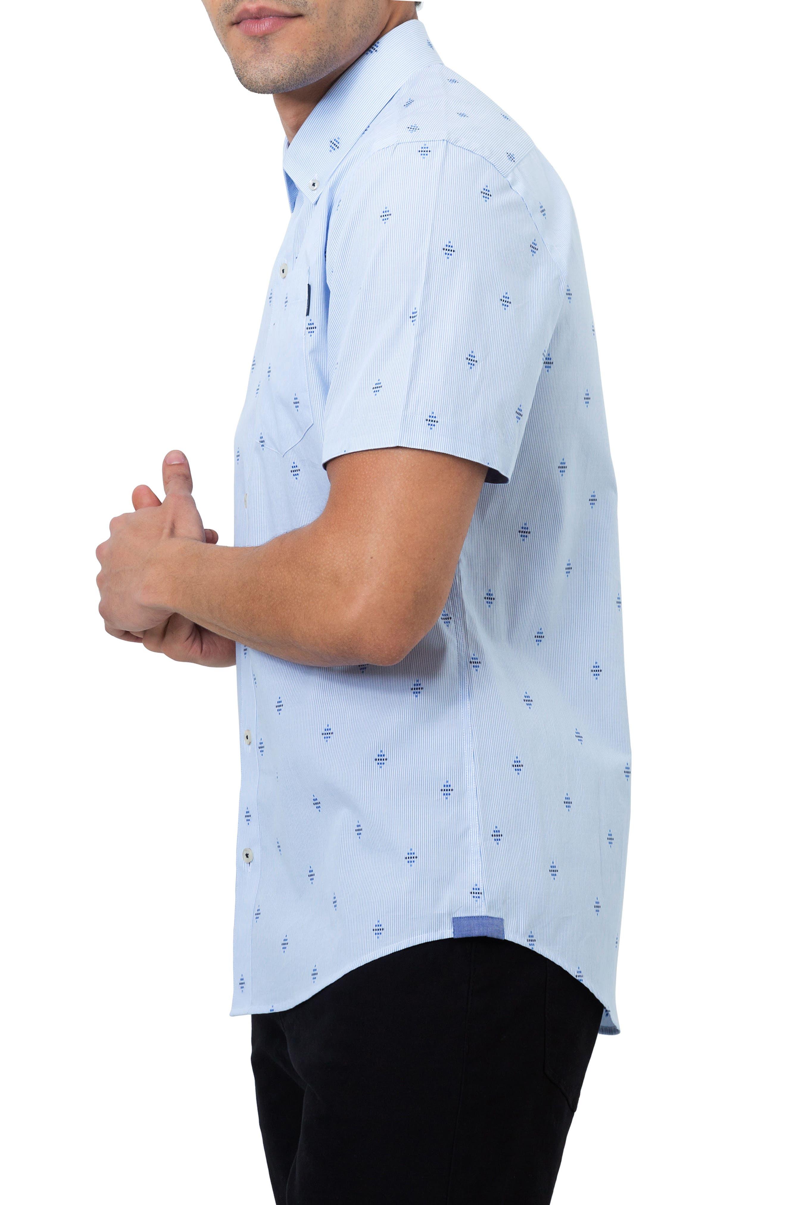 Summer Sky Stripe Dobby Diamond Sport Shirt,                             Alternate thumbnail 3, color,                             Blue