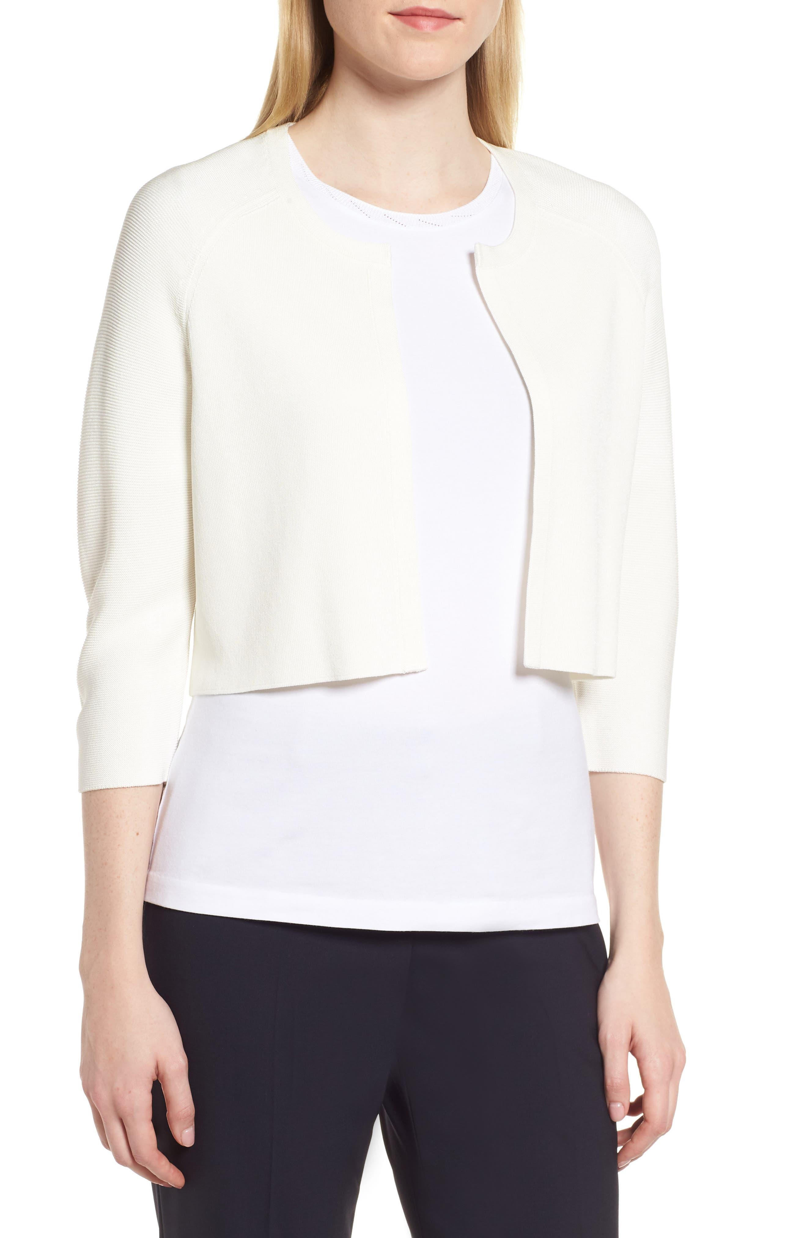 Fatilde Crop Cardigan,                         Main,                         color, White