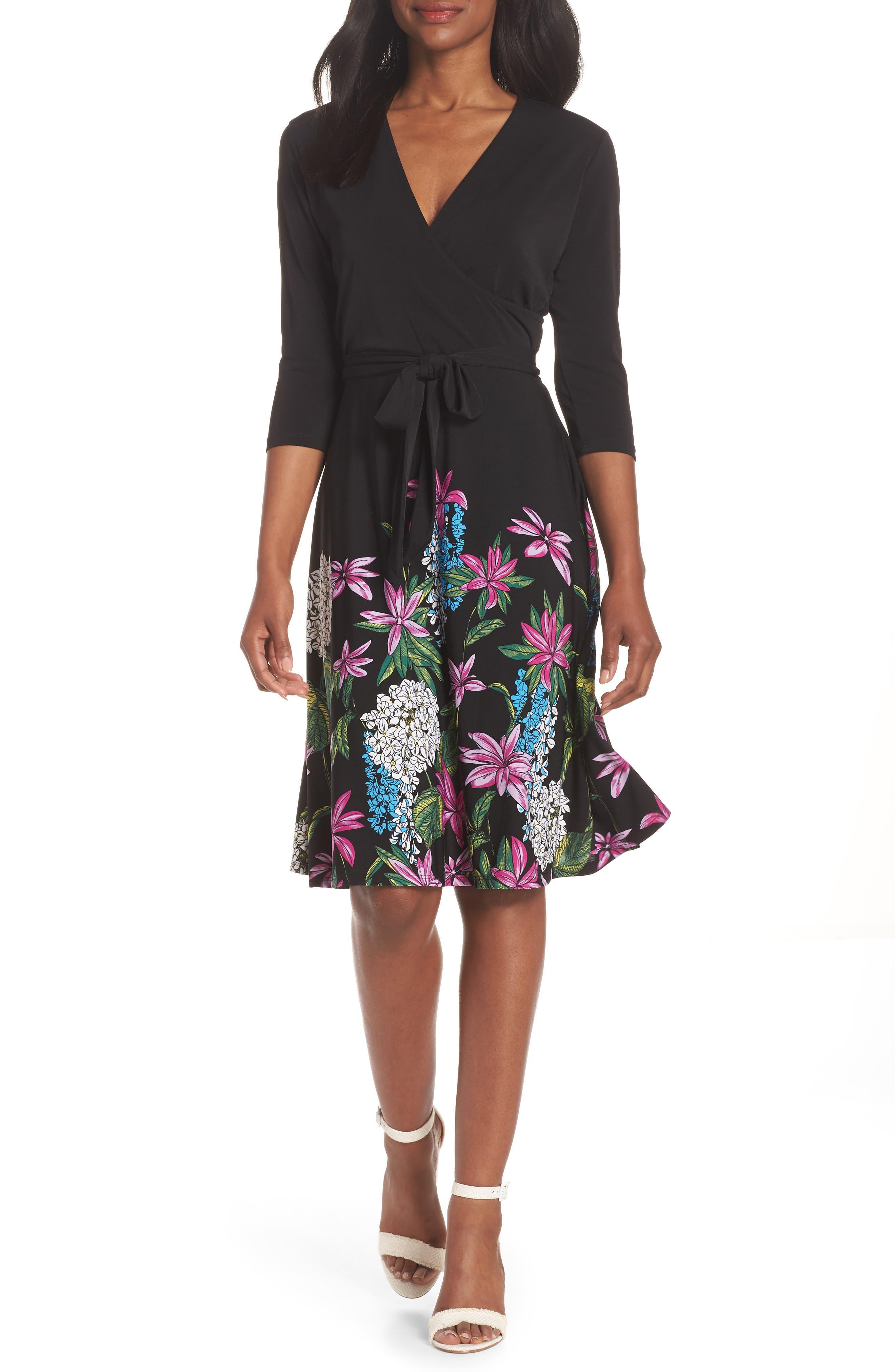 Print Jersey Faux Wrap Dress,                         Main,                         color, Terrarium