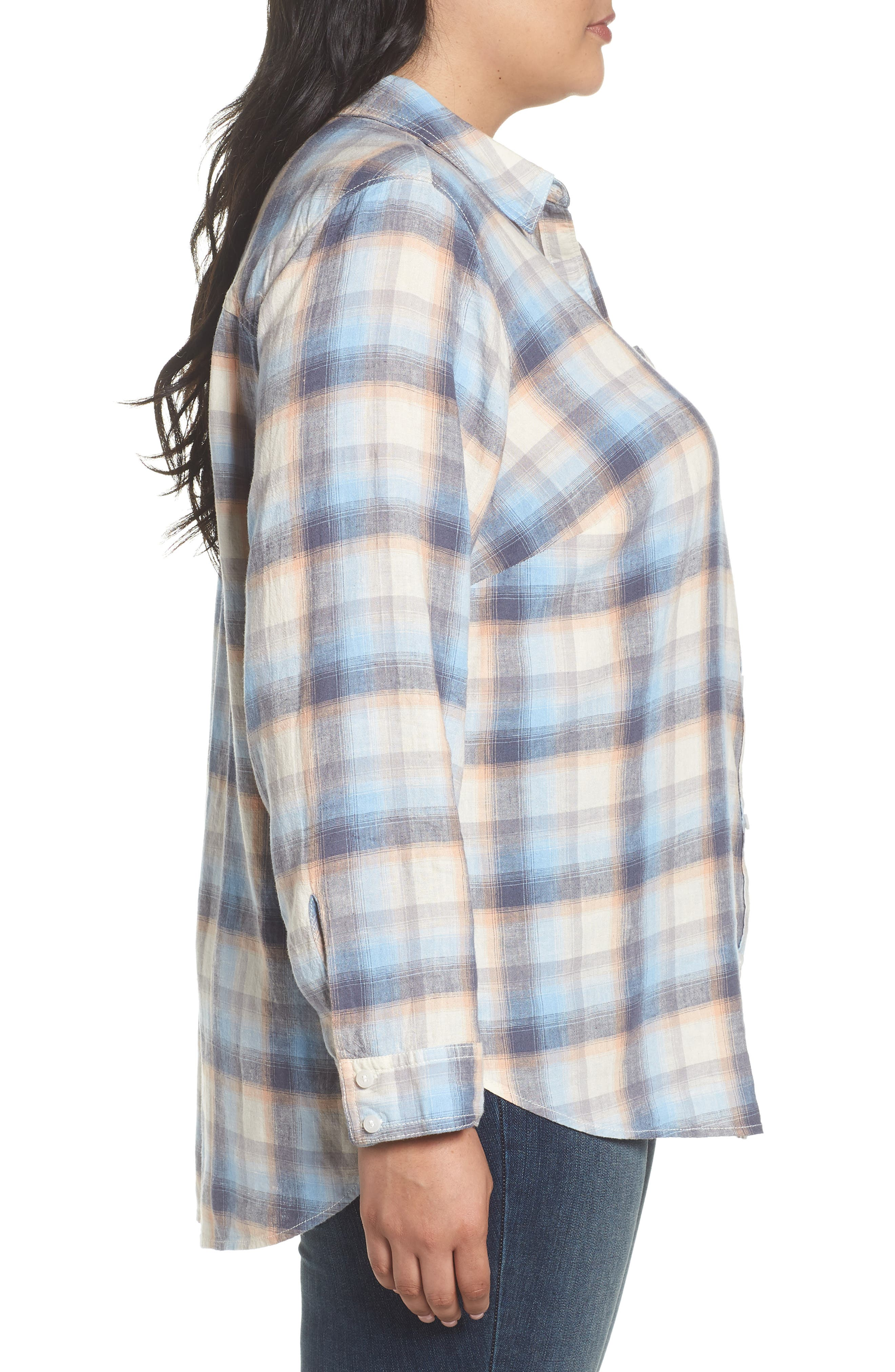 Plaid Linen Blend Shirt,                             Alternate thumbnail 3, color,                             Blue Plaid