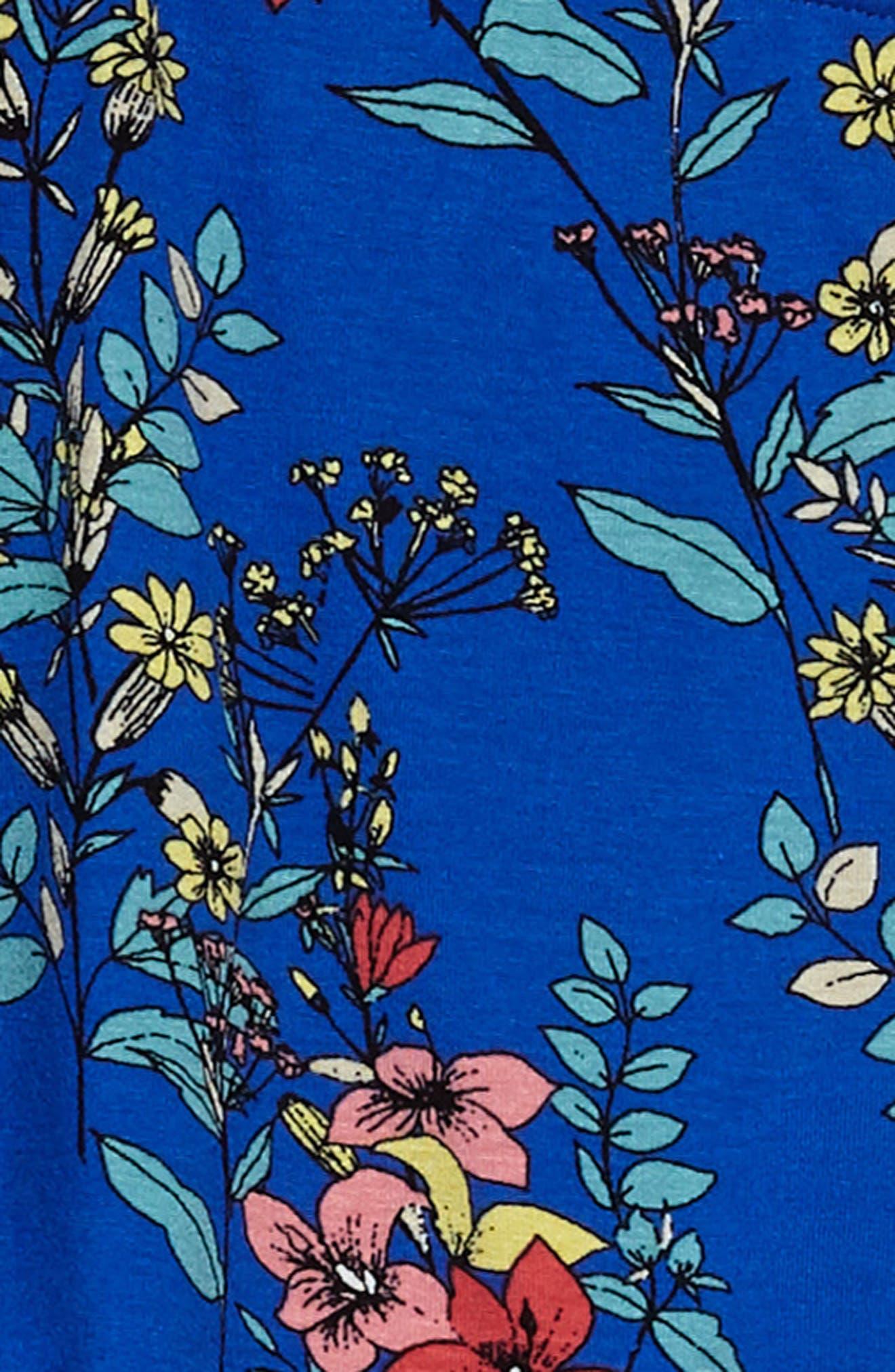 One-Shoulder Ruffle Dress,                             Alternate thumbnail 3, color,                             Royal/ Multi
