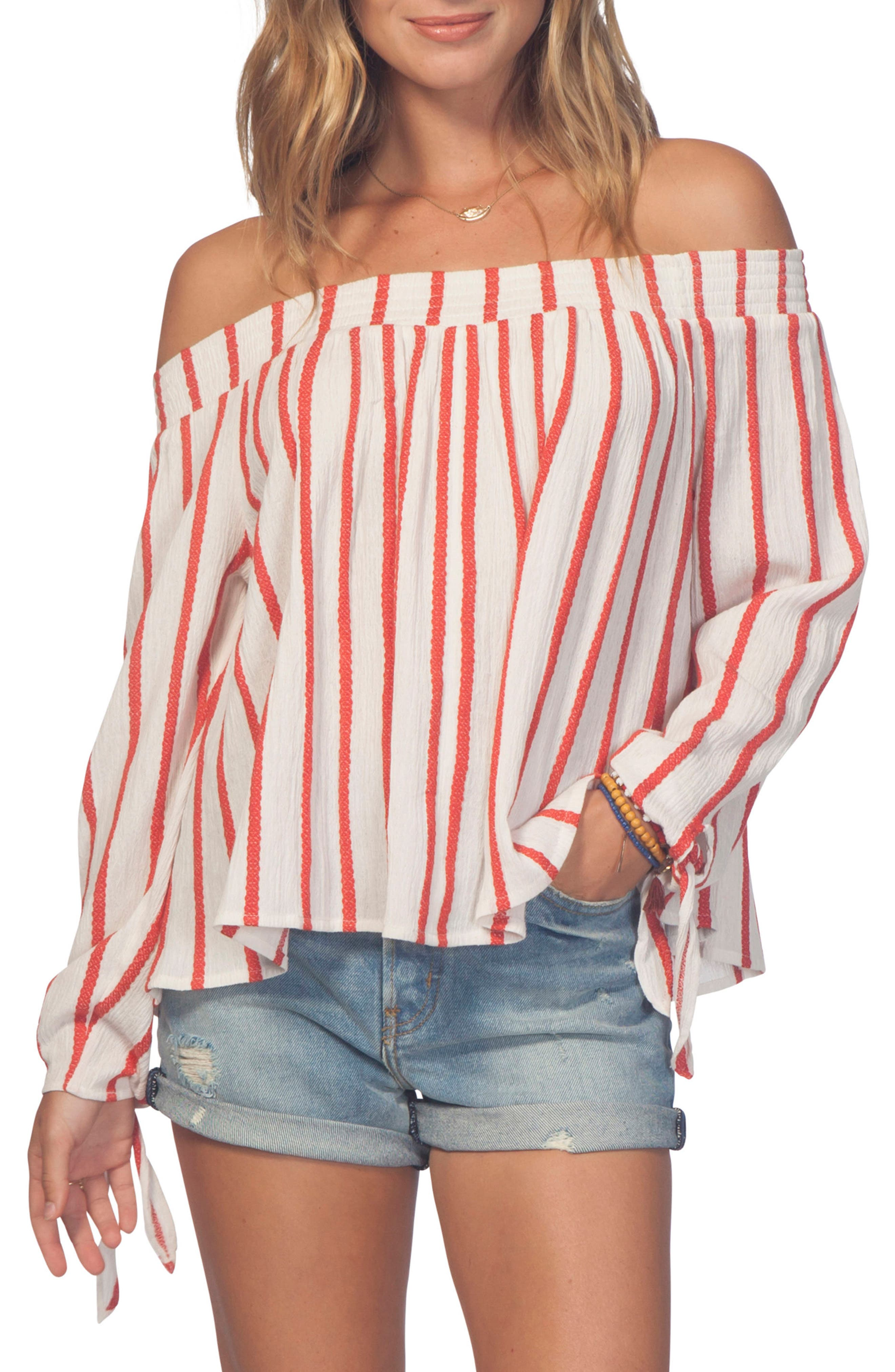 Shoreside Stripe Off the Shoulder Top,                             Main thumbnail 1, color,                             Red